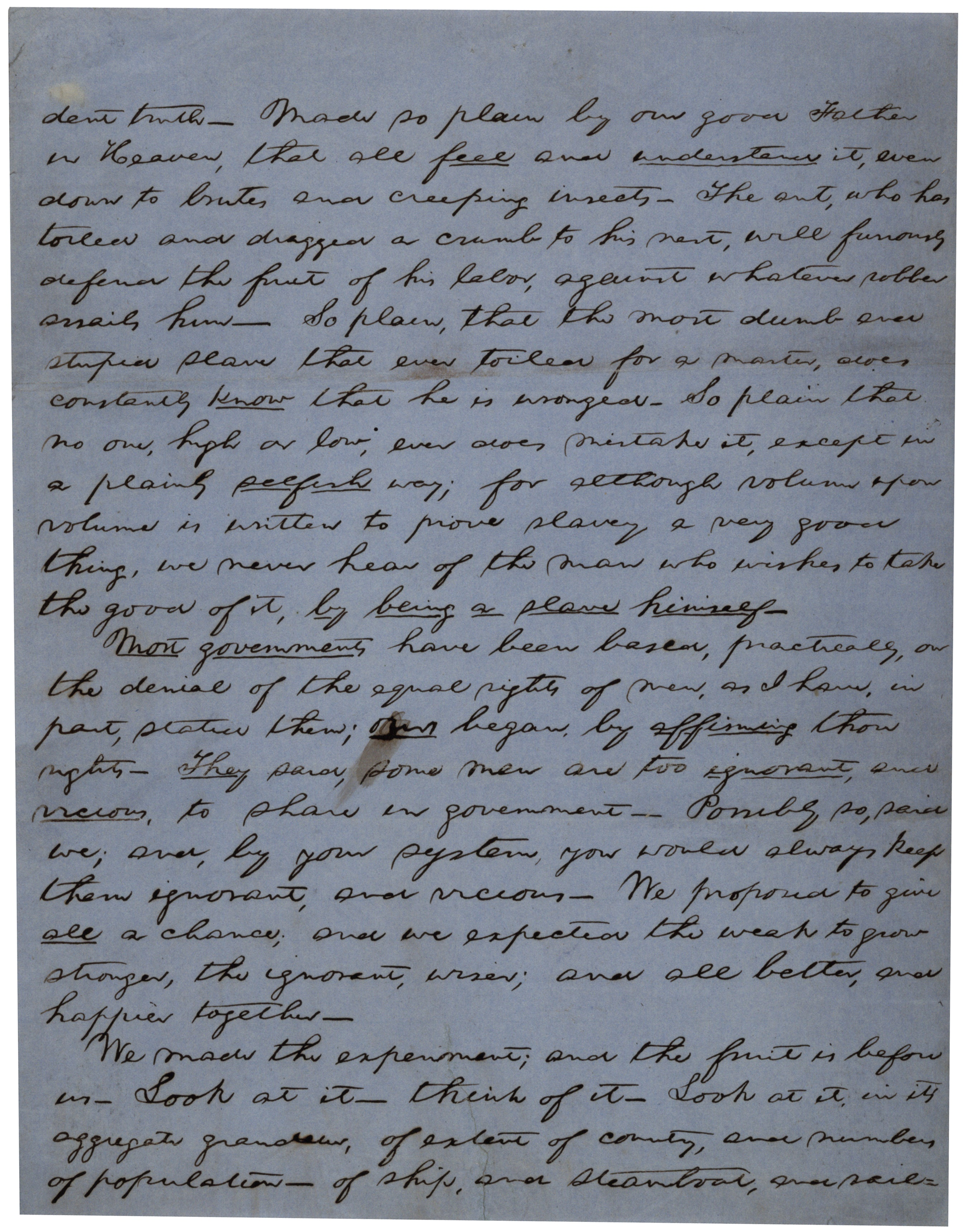 Abraham Lincoln, speech fragment on slavery and the American government, ca. 185