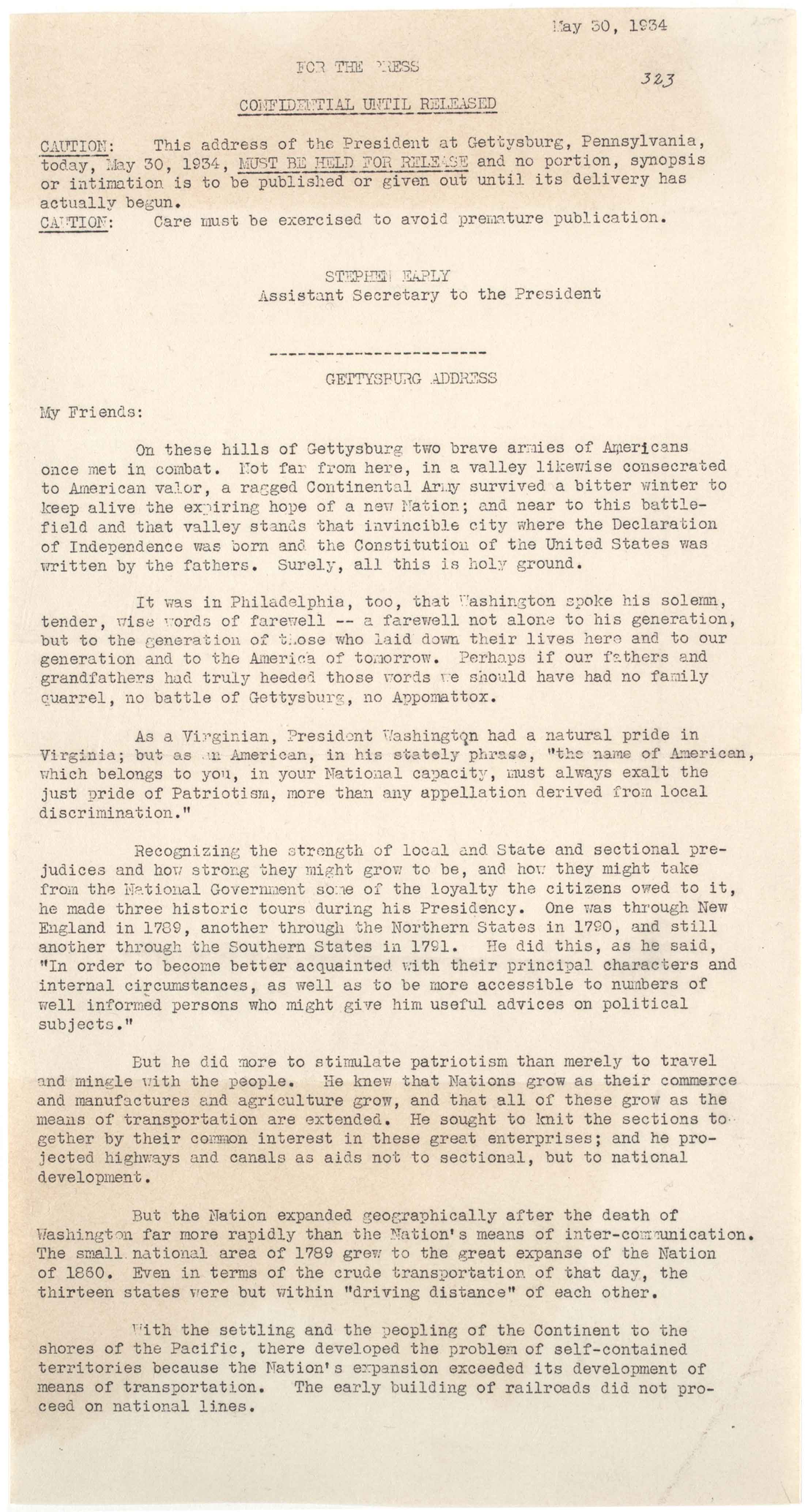 Franklin D. Roosevelt, [Press release of speech delivered on Memorial Day at Get