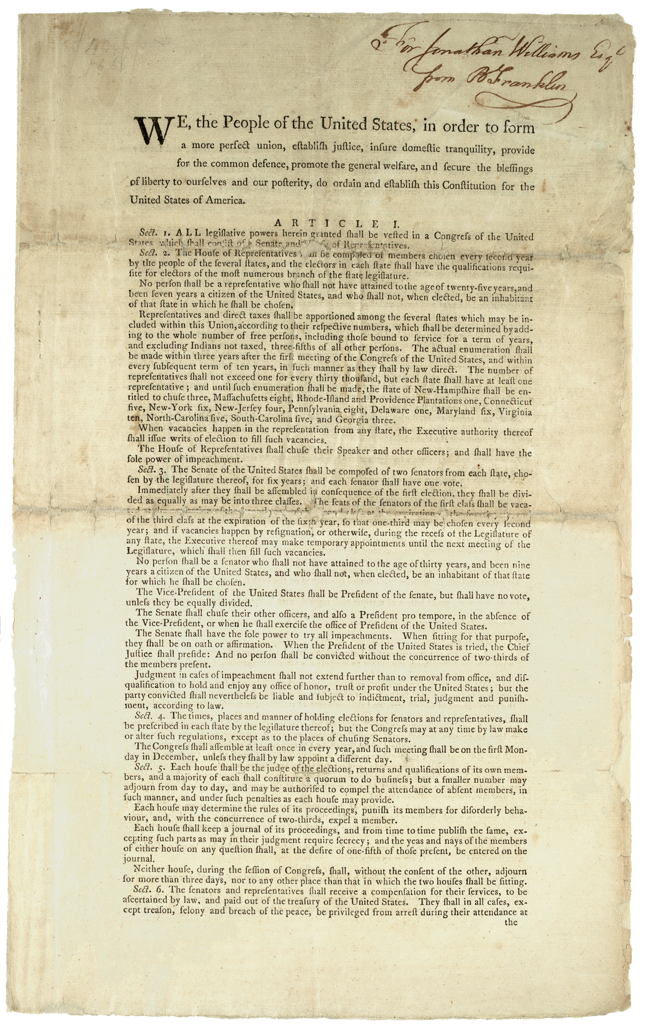 Constitution. Printed Dunlap & Claypoole edition inscribed to Jonathan Williams,