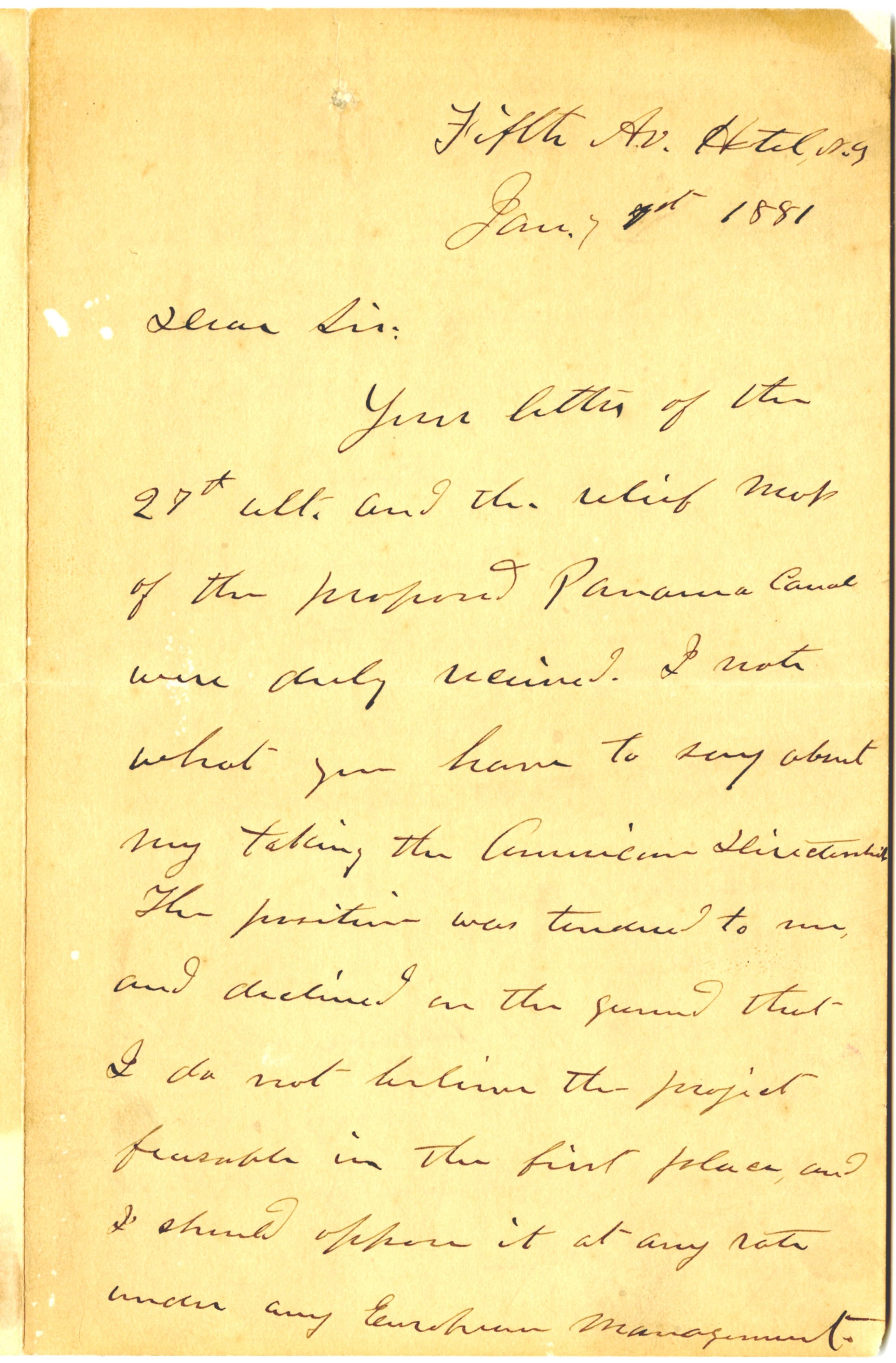 Ulysses S. Grant to Nathan Appleton, January 7, 1881 (Gilder Lehrman Collection)