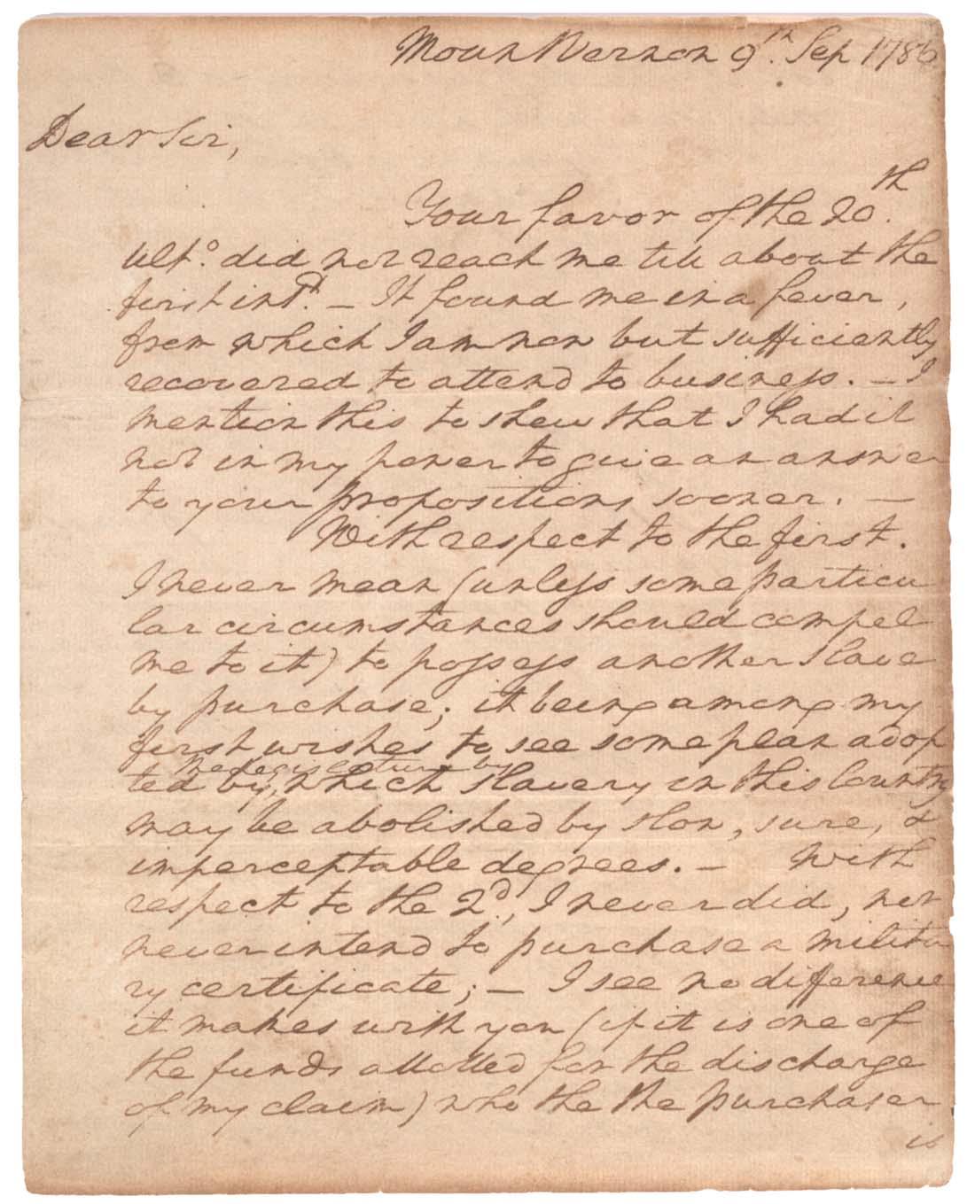 George Washington to John Francis Mercer, September 9, 1786. (Gilder Lehrman