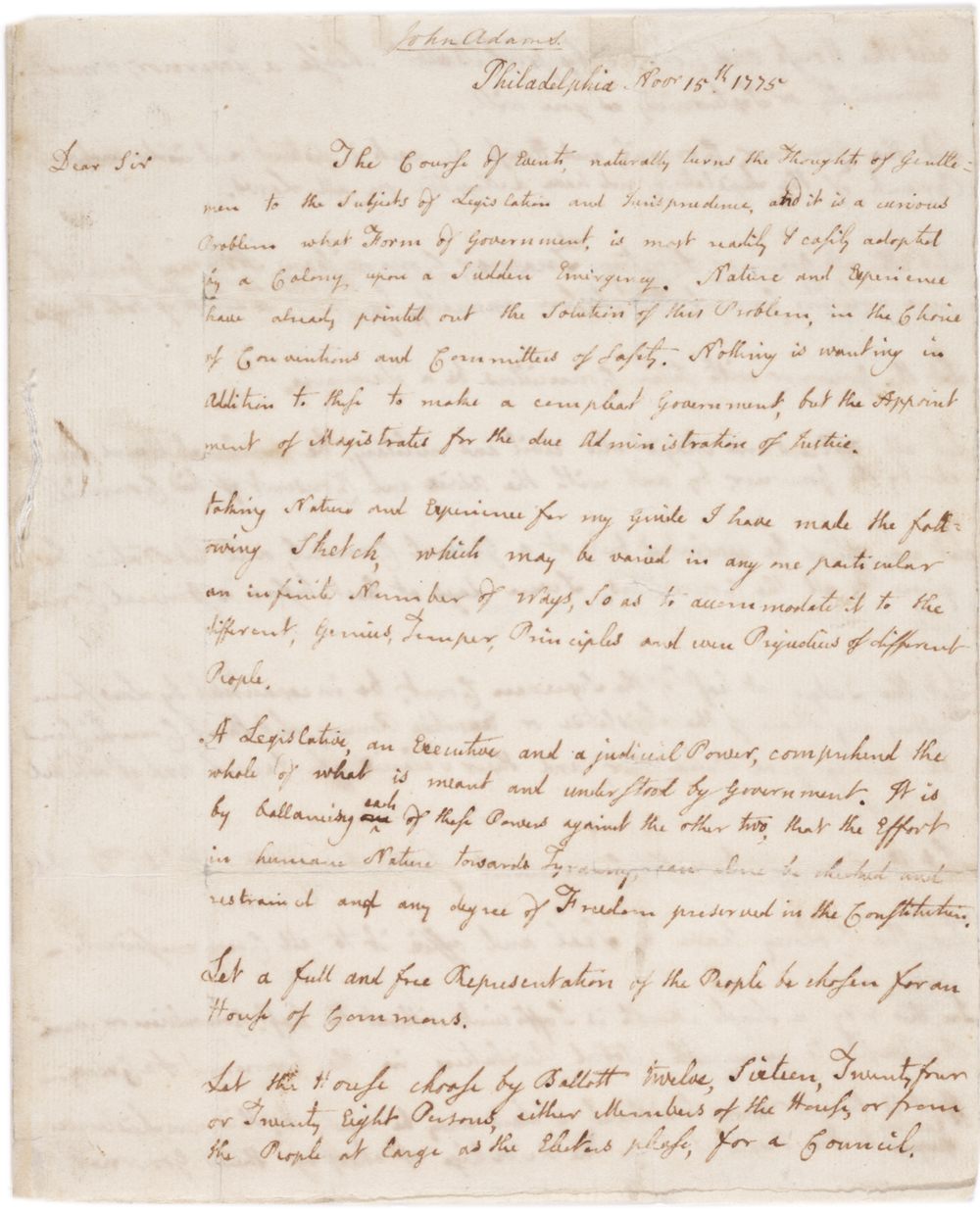 John Adams to Richard Henry Lee, November 15, 1775 (GLC03864)