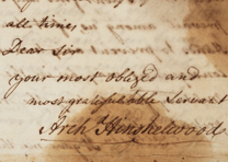 Archibald Hinshelwood to Joshua Mauger, August 19, 1765. (GLC03902.61)