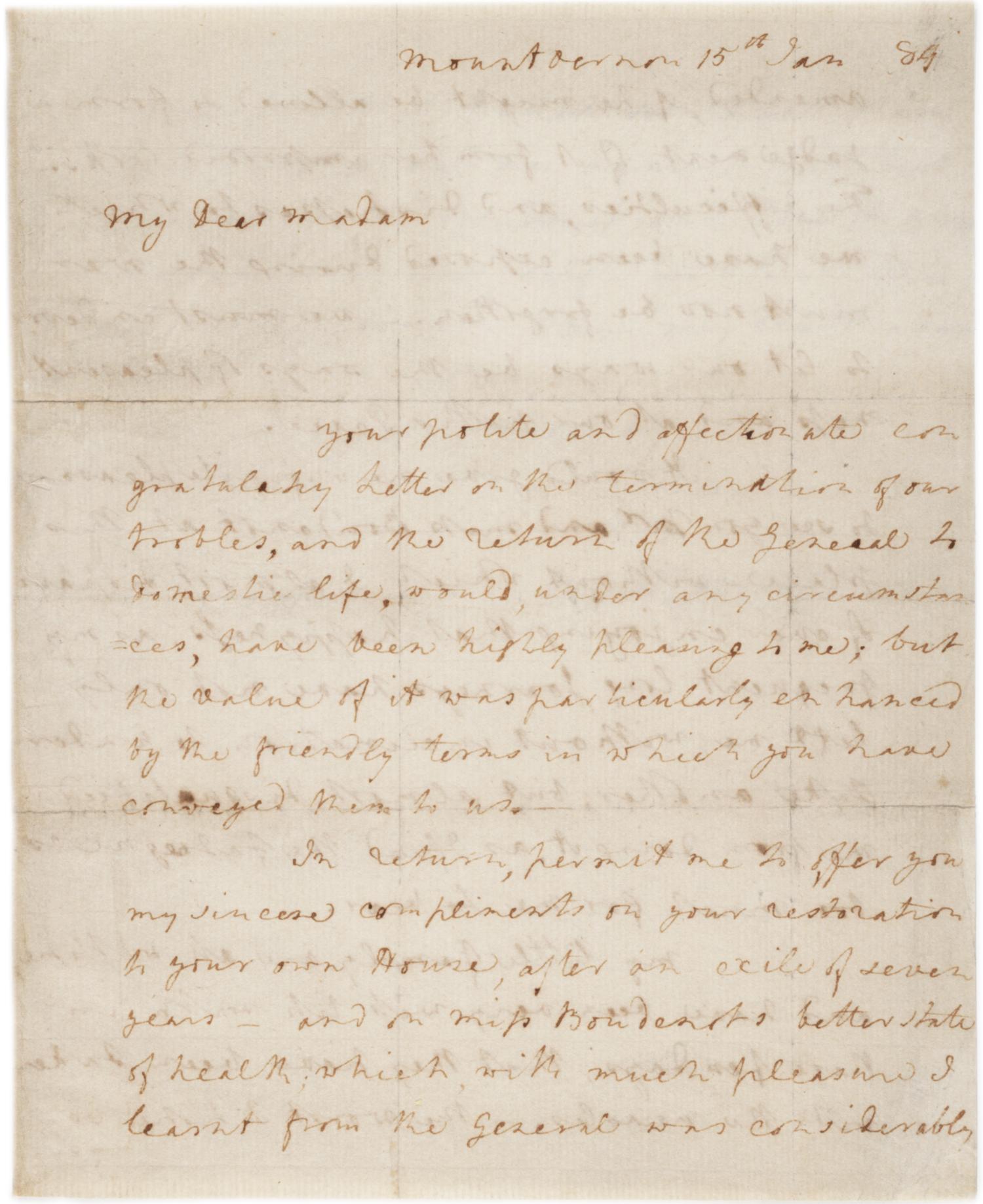 Martha Washington to Hannah Boudinot, January 15, 1784 (GLC03909)