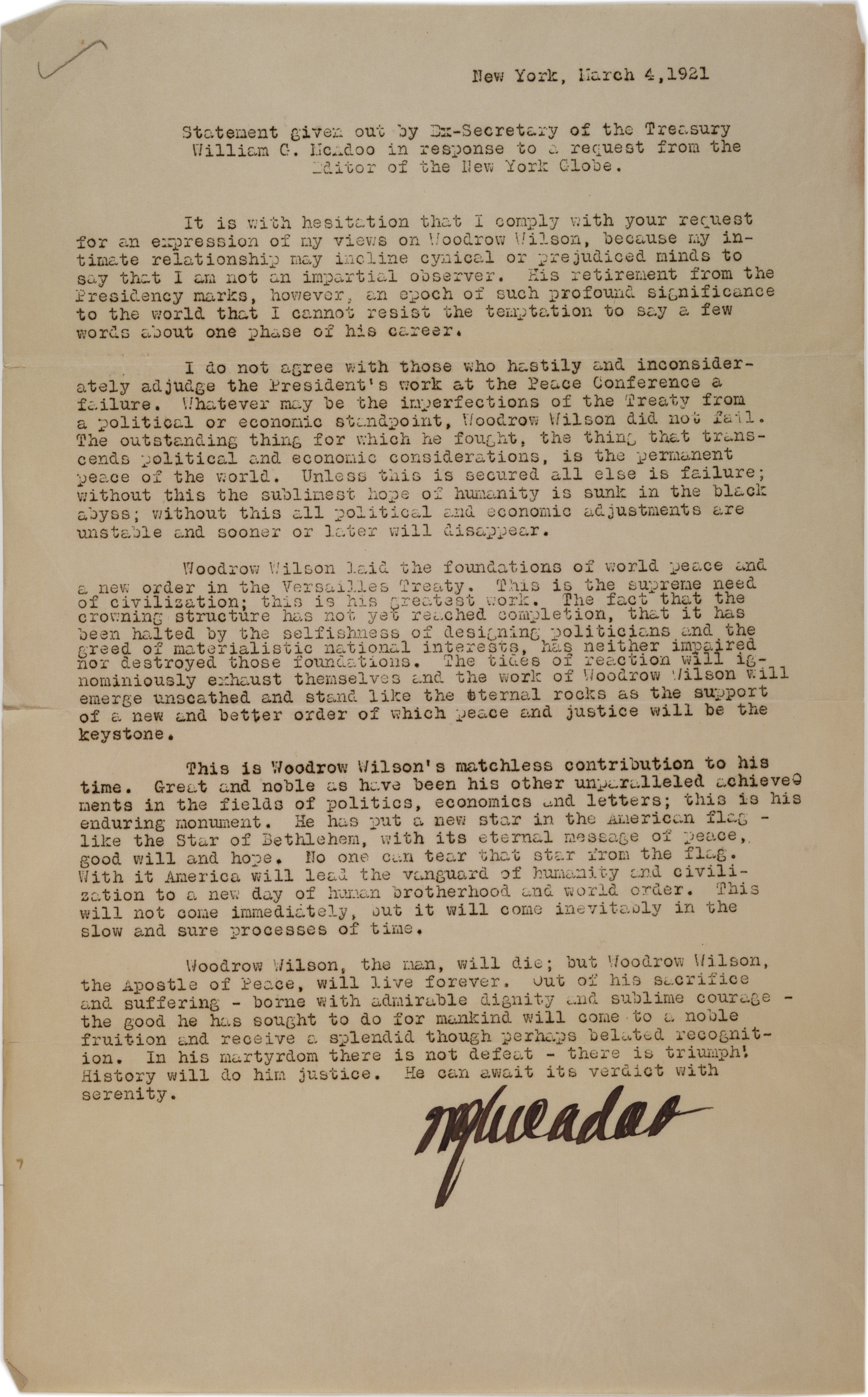 Press statement re: Woodrow Wilson's work at the Peace Conference (Versailles),