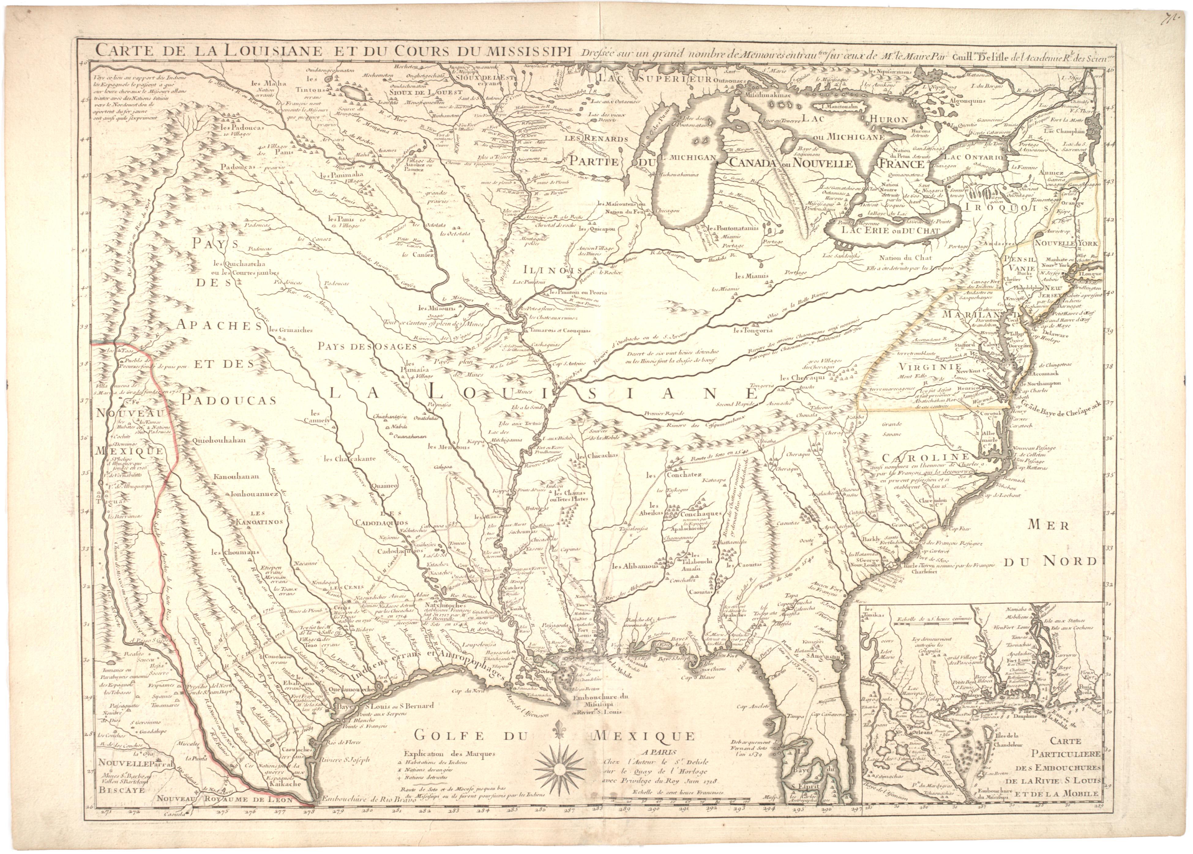 Carte de la Louisiane et du cours du Mississippi [map of North America], by Guil