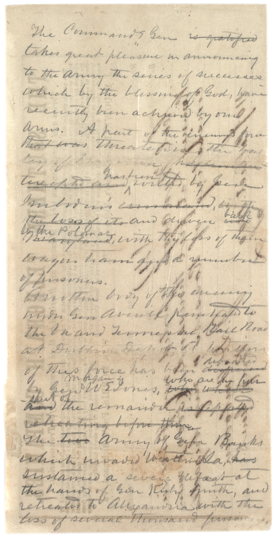 Draft of Robert E. Lee's address to his troops, ca. May 14, 1864. (GLC04429)