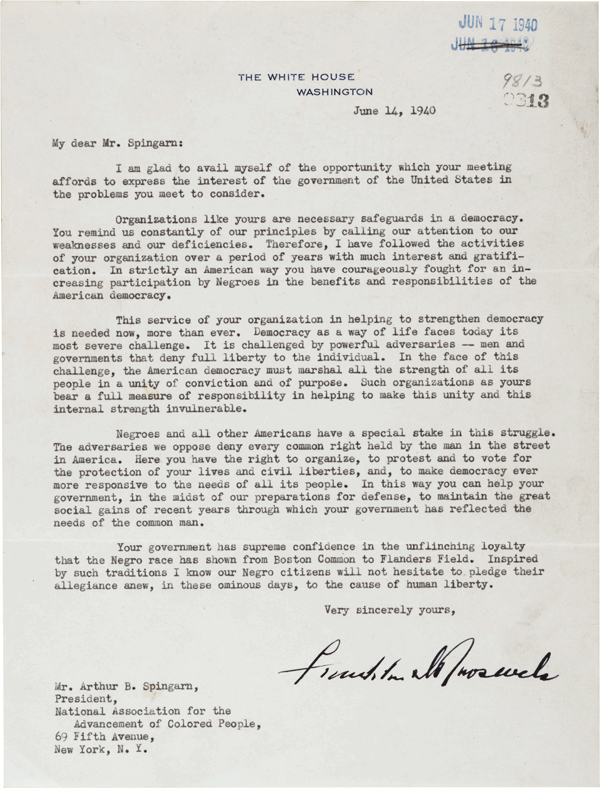 Franklin D. Roosevelt to Arthur B. Spingarn, June 14, 1940 (GLC04477)