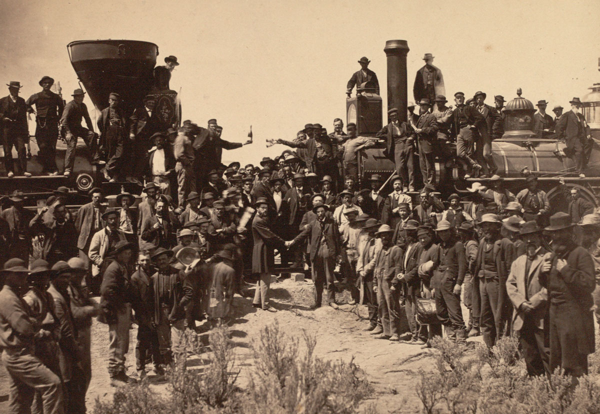 Joining of the rails at Promontory Point, photograph by Andrew J. Russell,  May 10, 1869 (Gilder Lehrman Collection) ...
