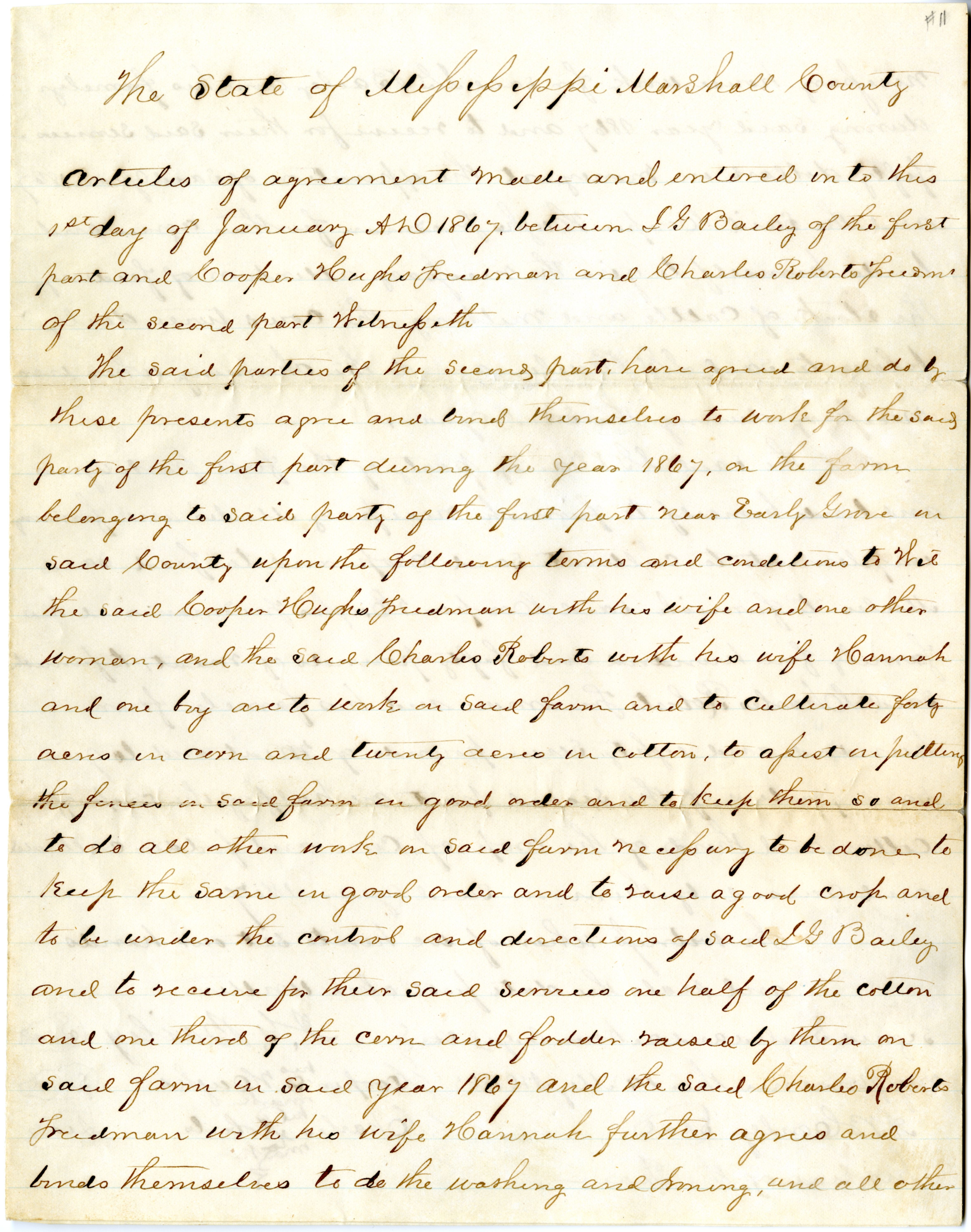 Freedmen's contract between Isham G. Bailey and freedmen Cooper Hughs and Charl