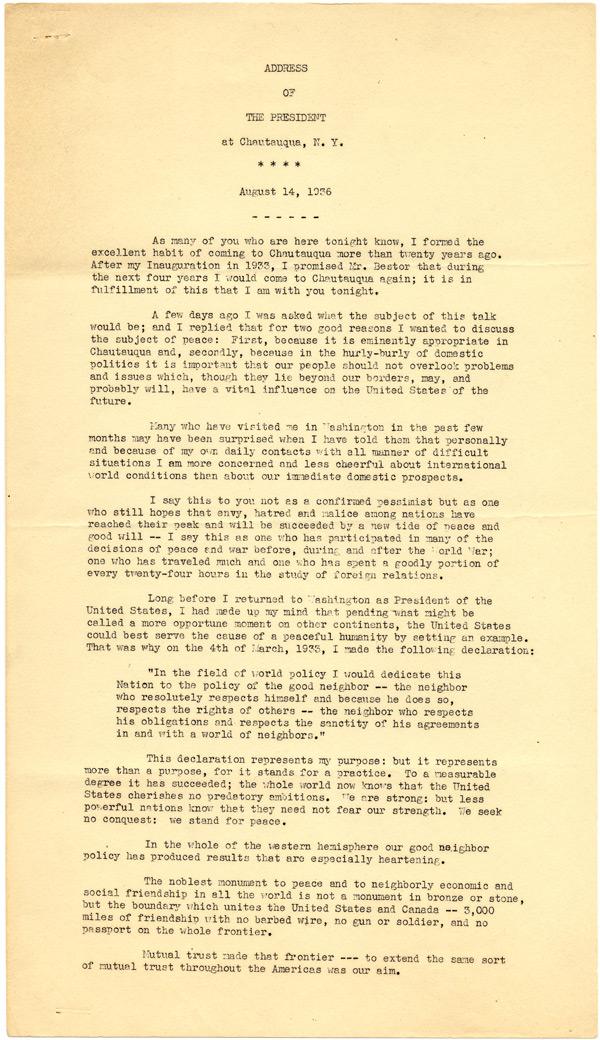 Franklin D. Roosevelt, Address at Chautauqua, NY, August 14, 1936. (Gilder Lehrm