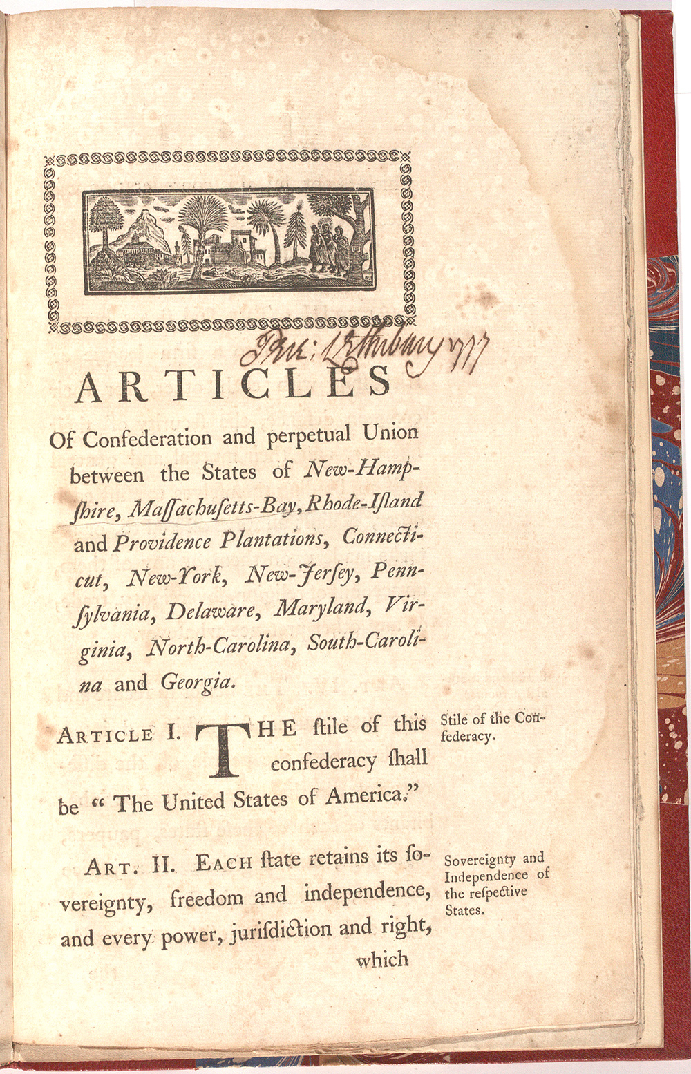 The Articles Of Confederation 1777 Gilder Lehrman Institute Of