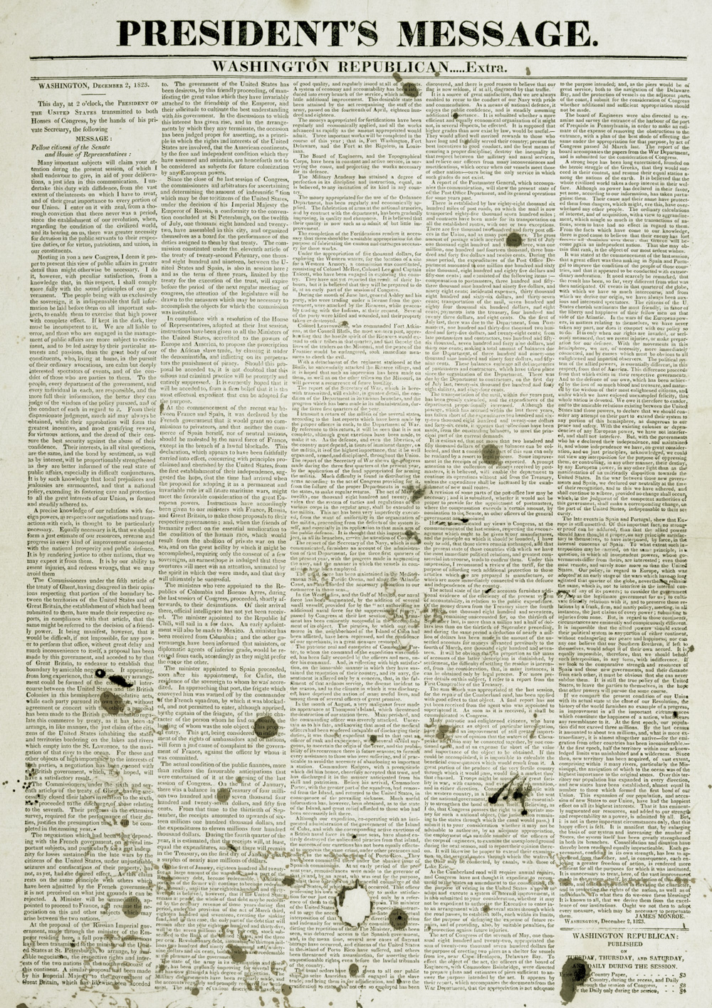 President's Annual Message to Congress, Washington Republican Extra, 1823 (GLC)
