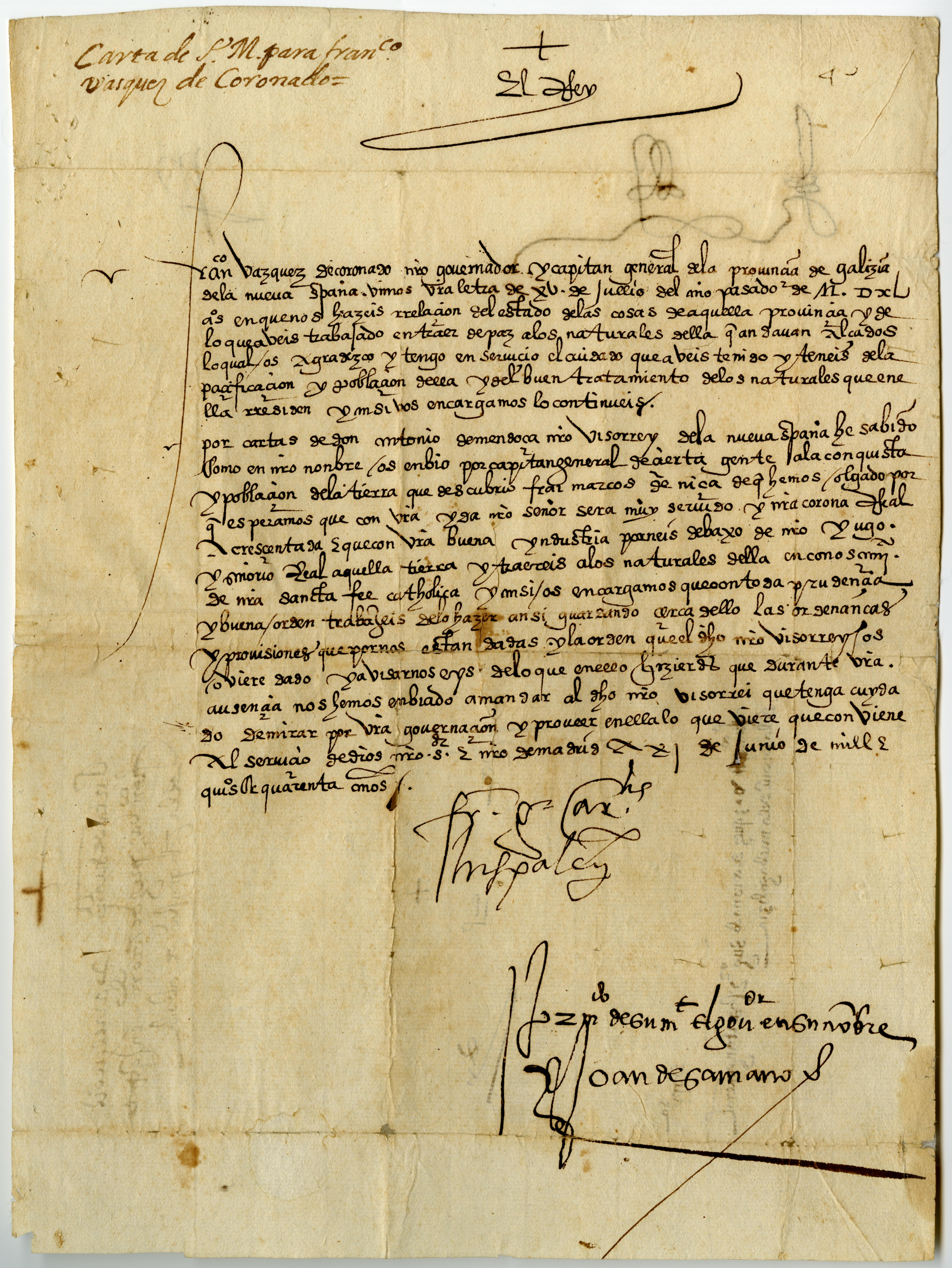 Francisco García de Loaysa to to Francisco Vásquez de Coronado, June 21, 1540.