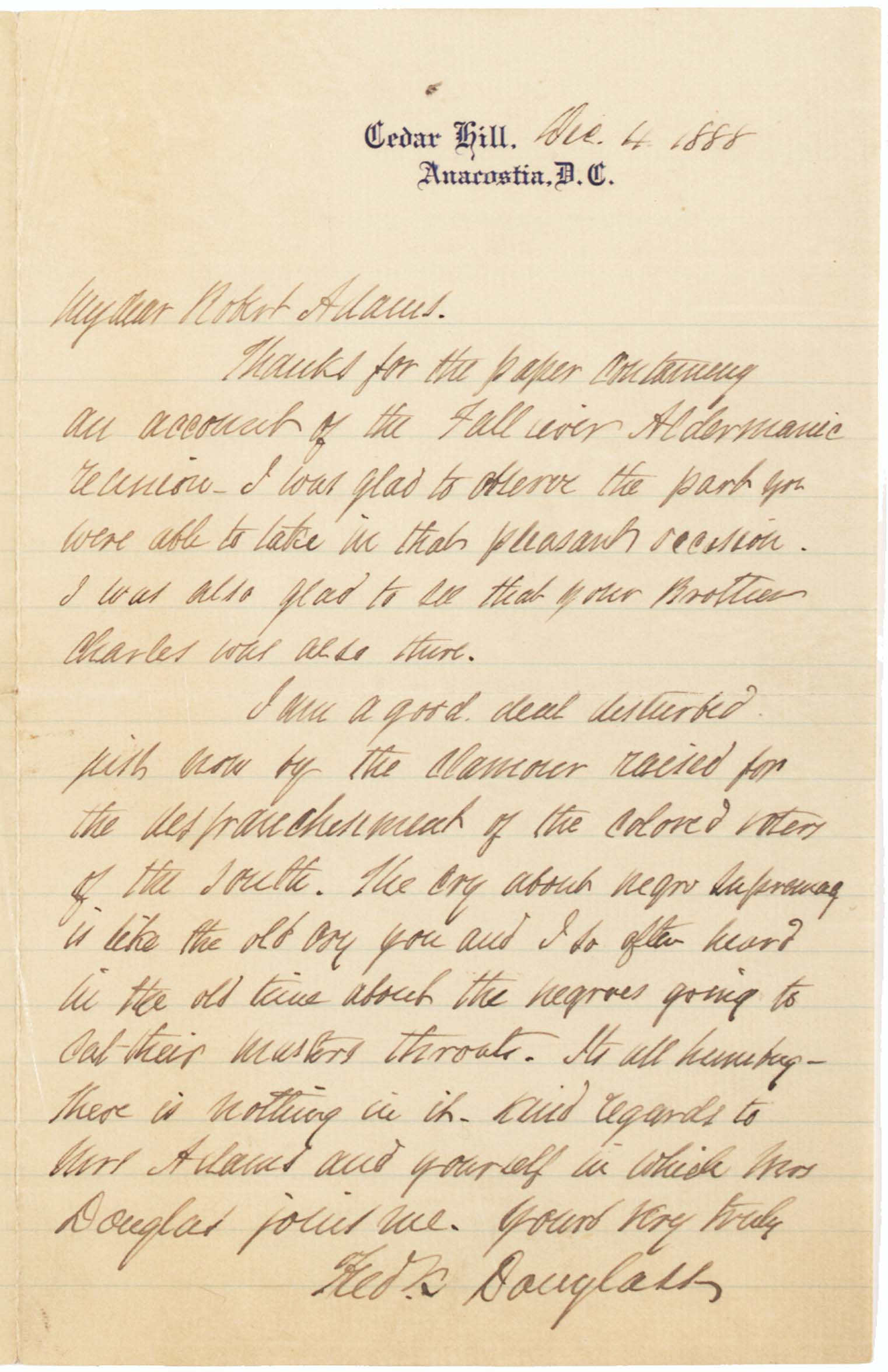 frederick douglass on the disfranchisement of black voters  frederick douglass to robert adams 4 1888 gilder lehrman collection