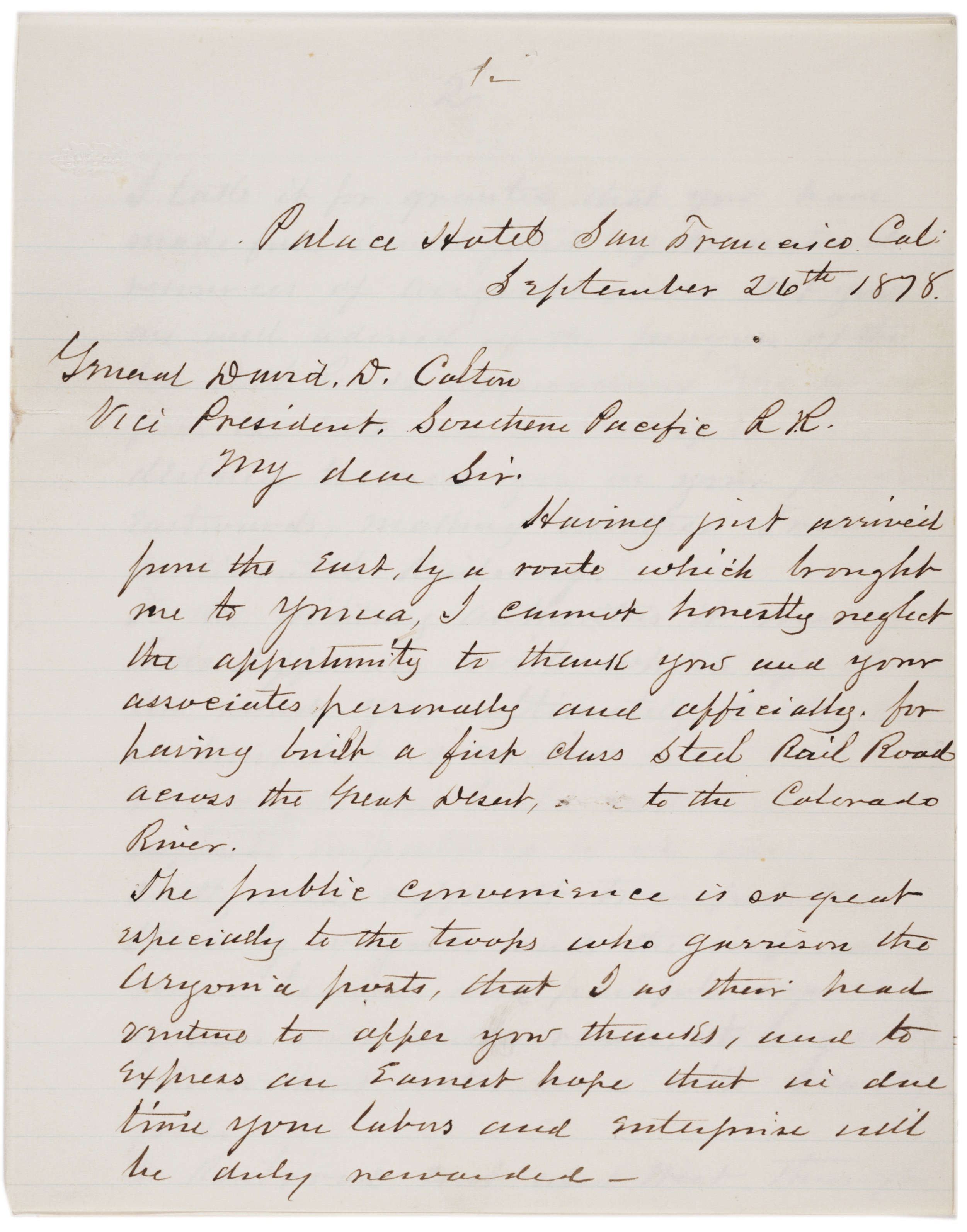 William T. Sherman to David Douty Colton, September 26, 1878 (Gilder Lehrman Col