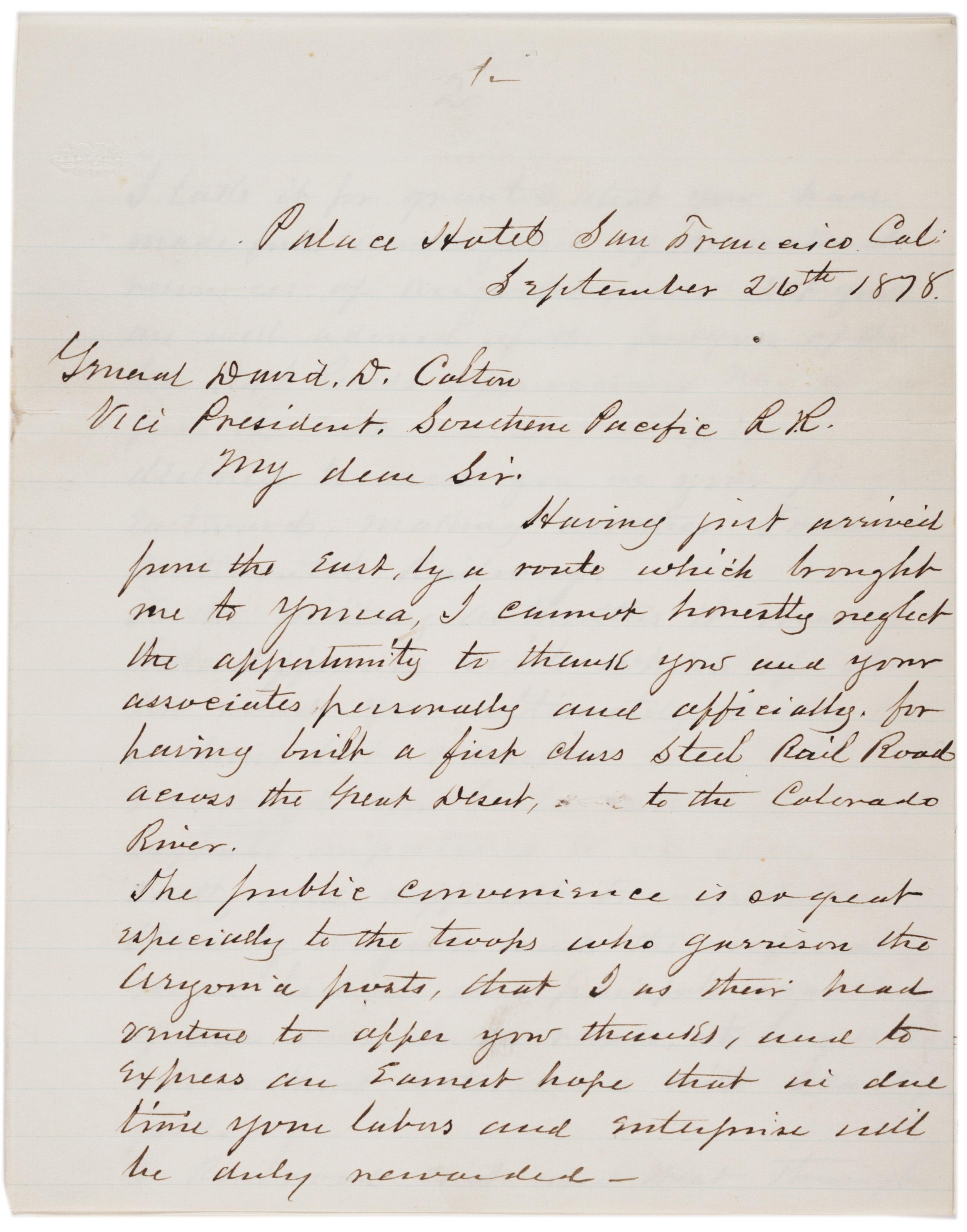 William T. Sherman to David Douty Colton, September 26, 1878 (Gilder Lehrman Col
