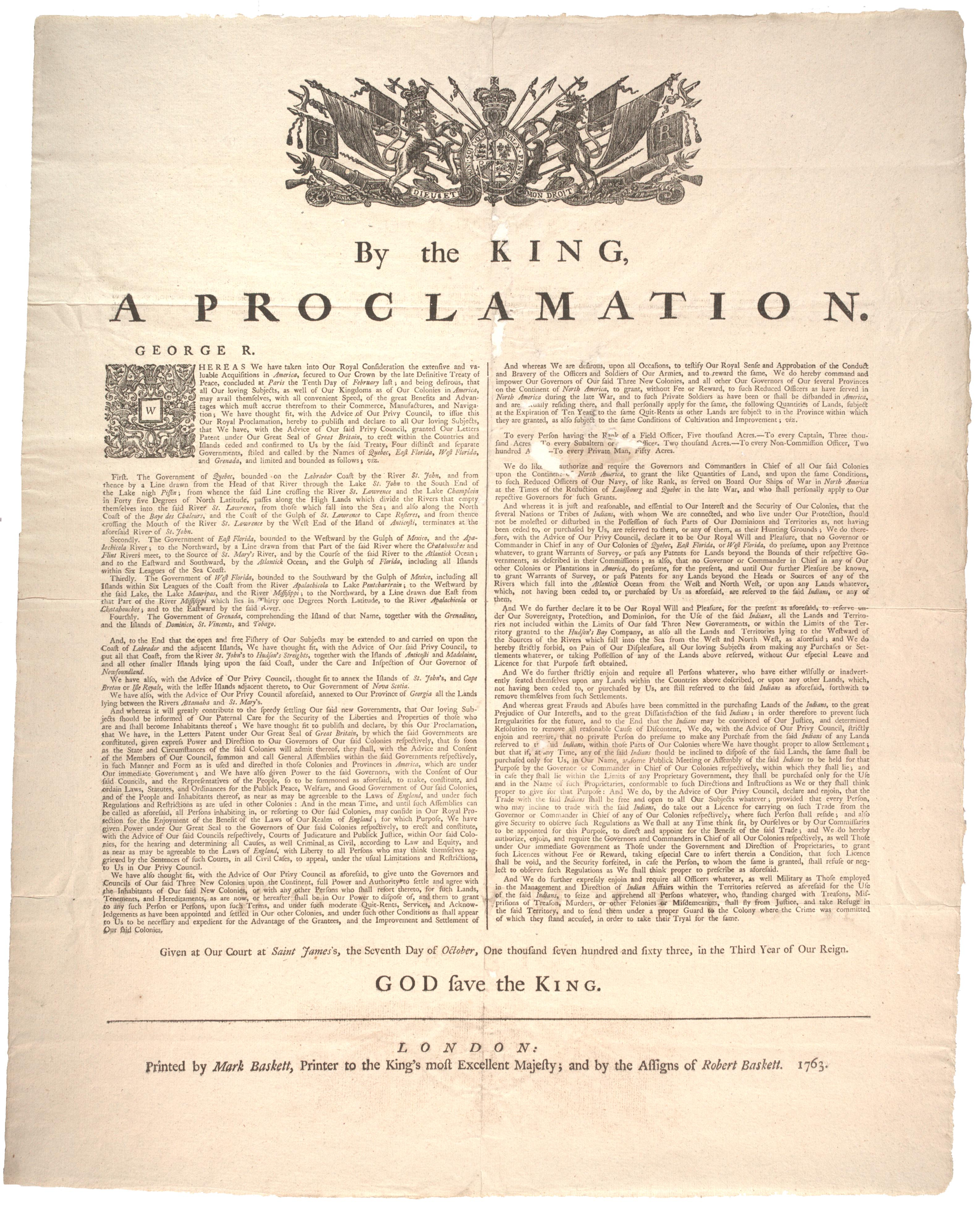 King George III's Proclamation of 1763 (Gilder Lehrman Collection)