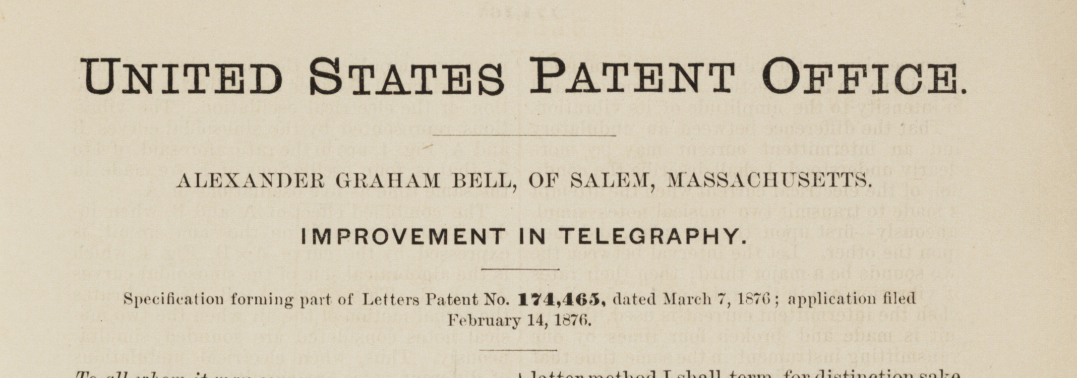 Alexander Graham Bell, Patent for telephone, March 7, 1876. (Gilder Lehrman Coll