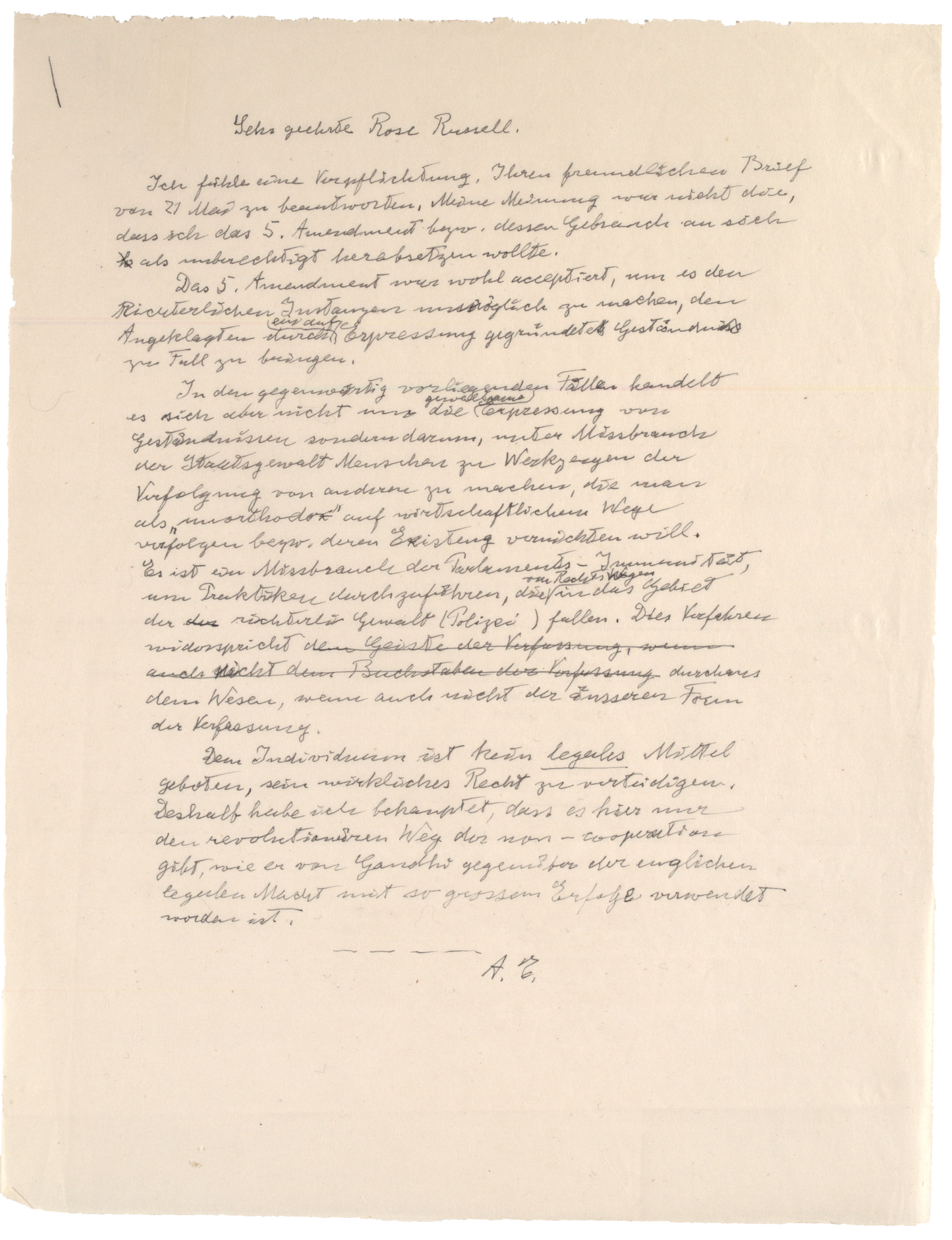 Albert Einstein to Rose Russell [in German], [May 28], 1953. (Gilder Lehrman Col