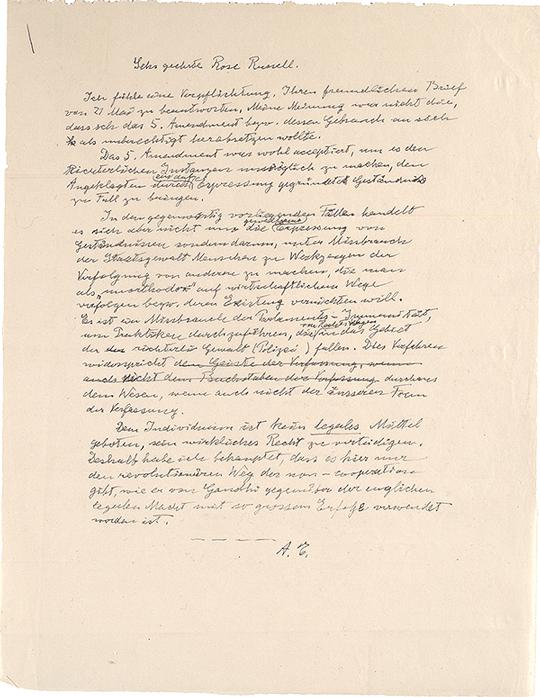 Albert Einstein to Rose Russell [in German], [May 28], 1953. (Gilder Lehrman Col