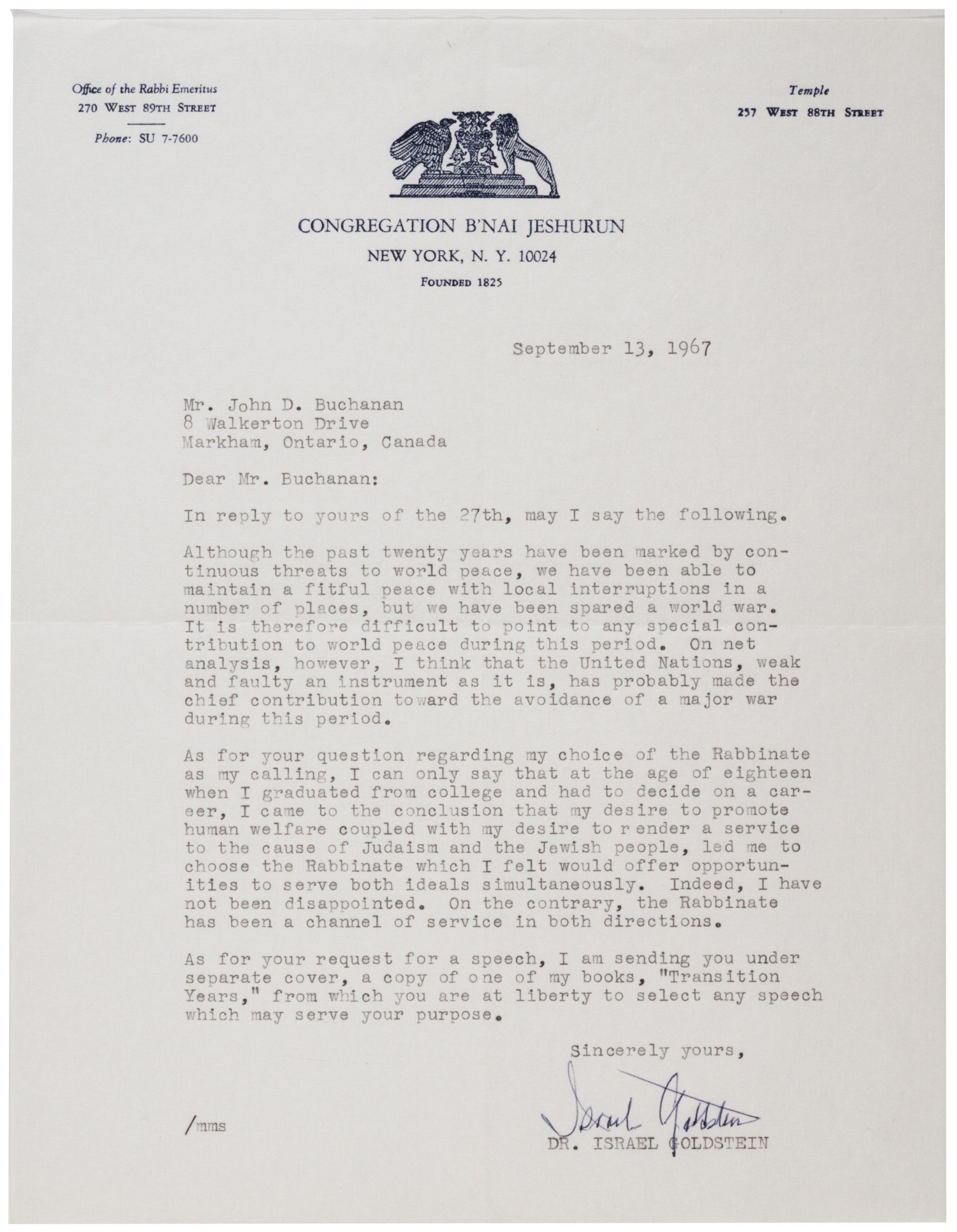 Israel Goldstein to John D. Buchanan, September 13, 1967. (GLC05508.111)