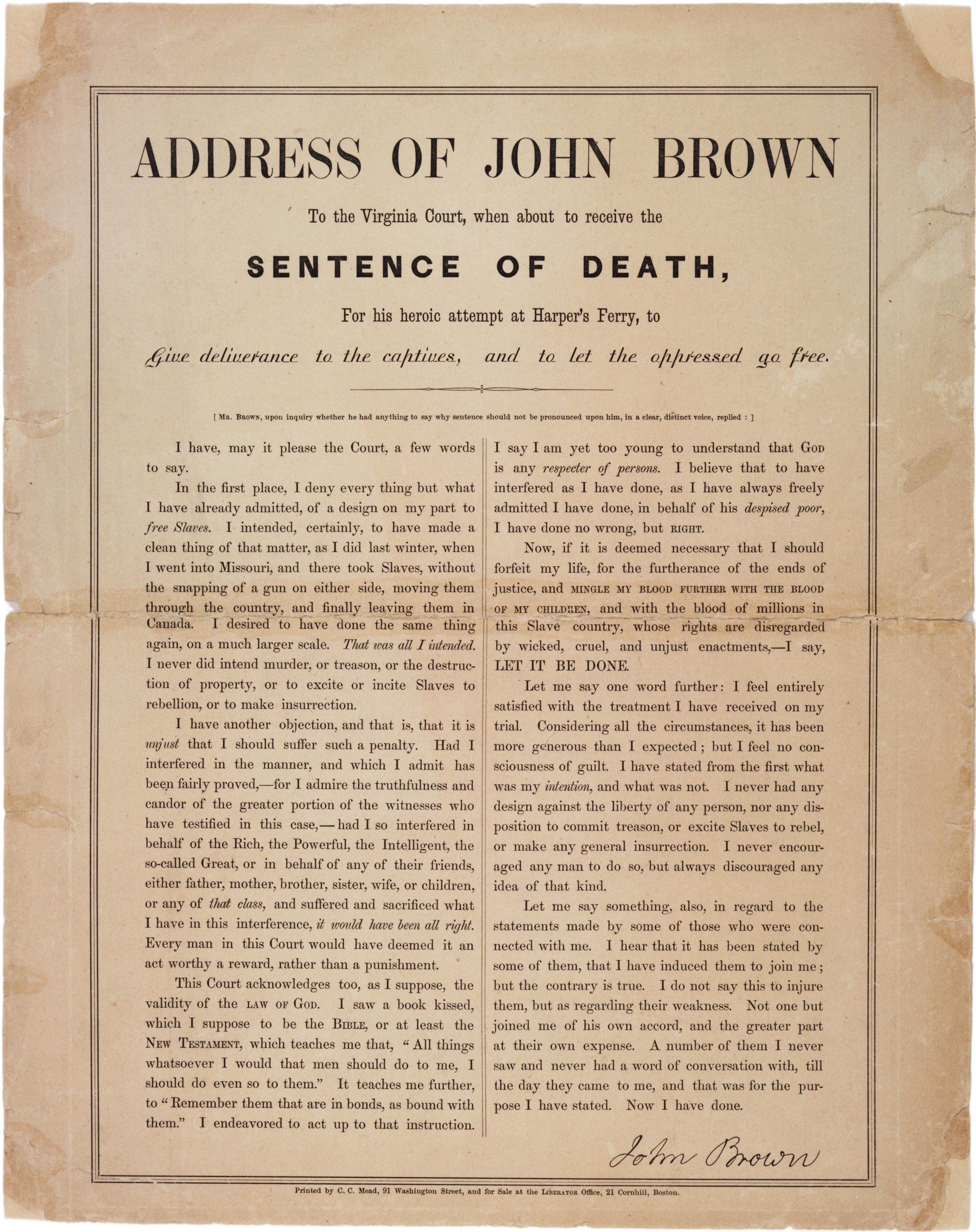 "John Brown, ""Address of John Brown to the Virginia Court..."" December, 1859 (Gi"