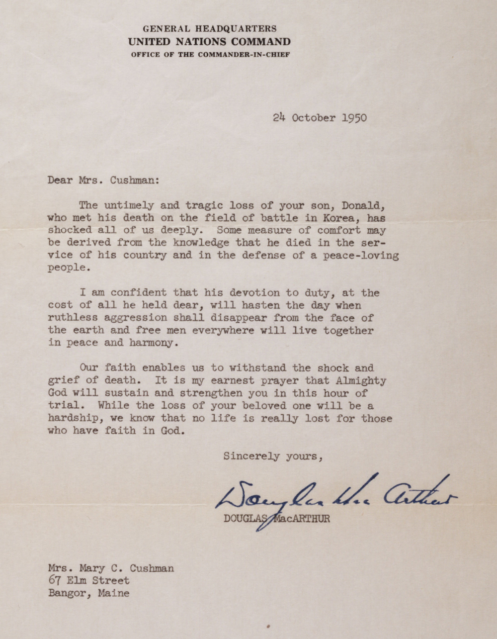 condolence letter from general macarthur 1950