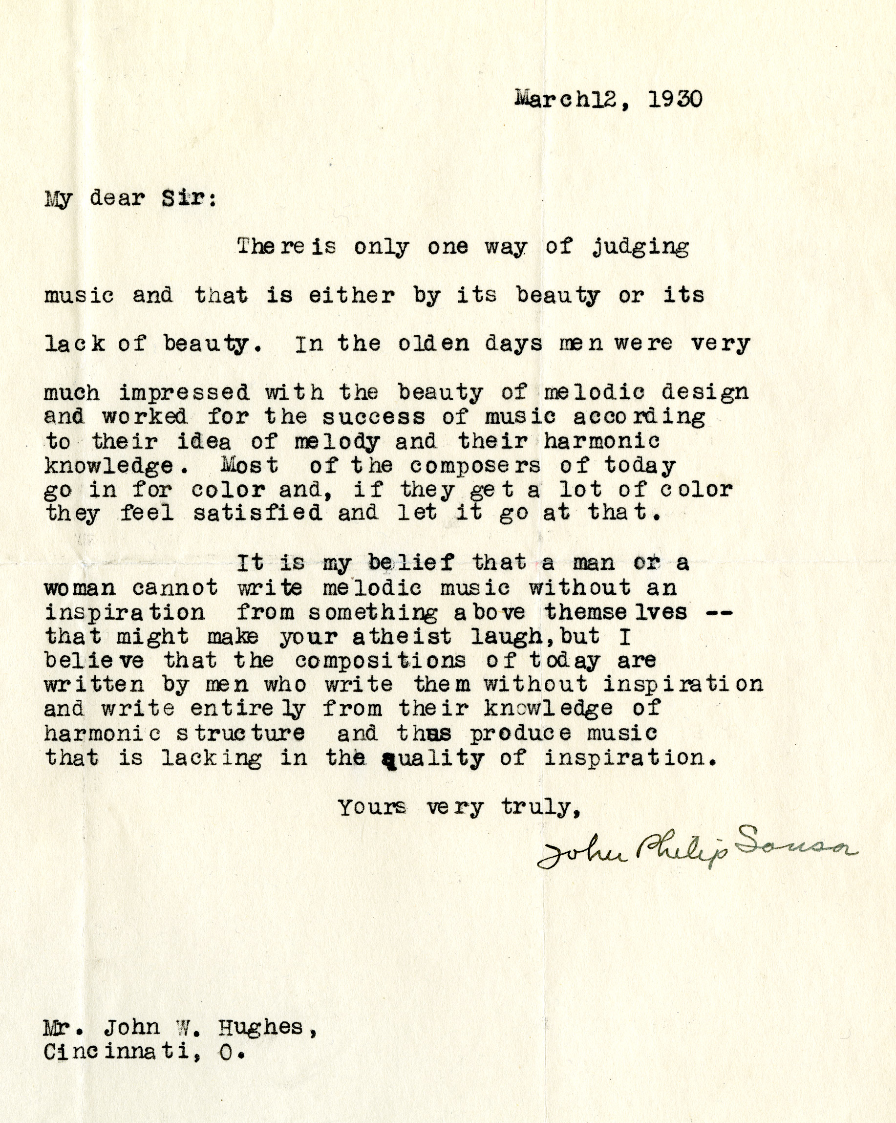 John P. Sousa to John W. Hughes, March 12, 1930. (Gilder Lehrman Collection)