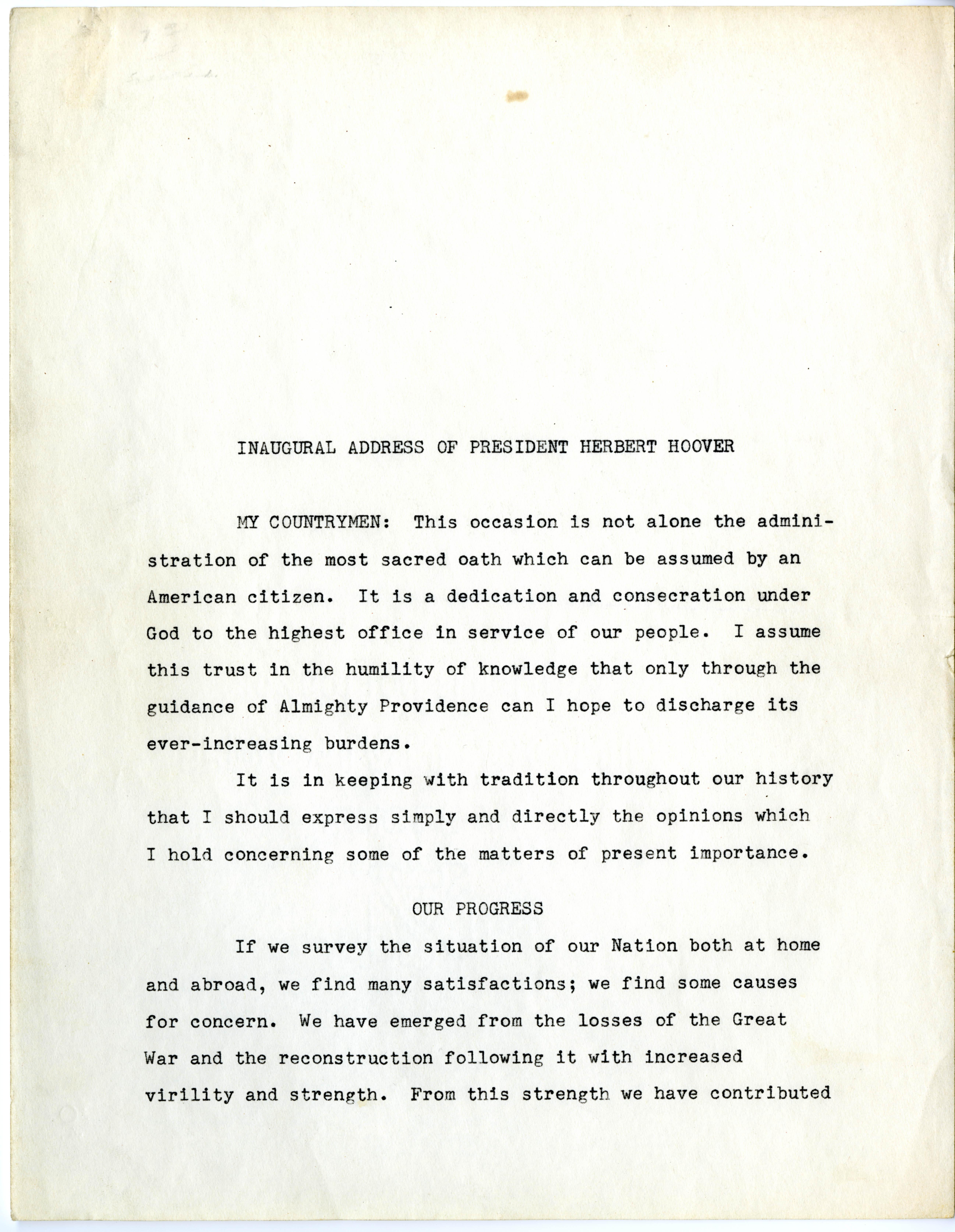 Inaugural Address of President Herbert Hoover, March 4, 1929 (Gilder Lehrman Col