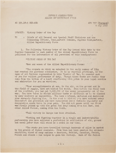 """Dwight D. Eisenhower, """"Victory Order of the Day,"""" May 8, 1945. (GLC05622.04)"""