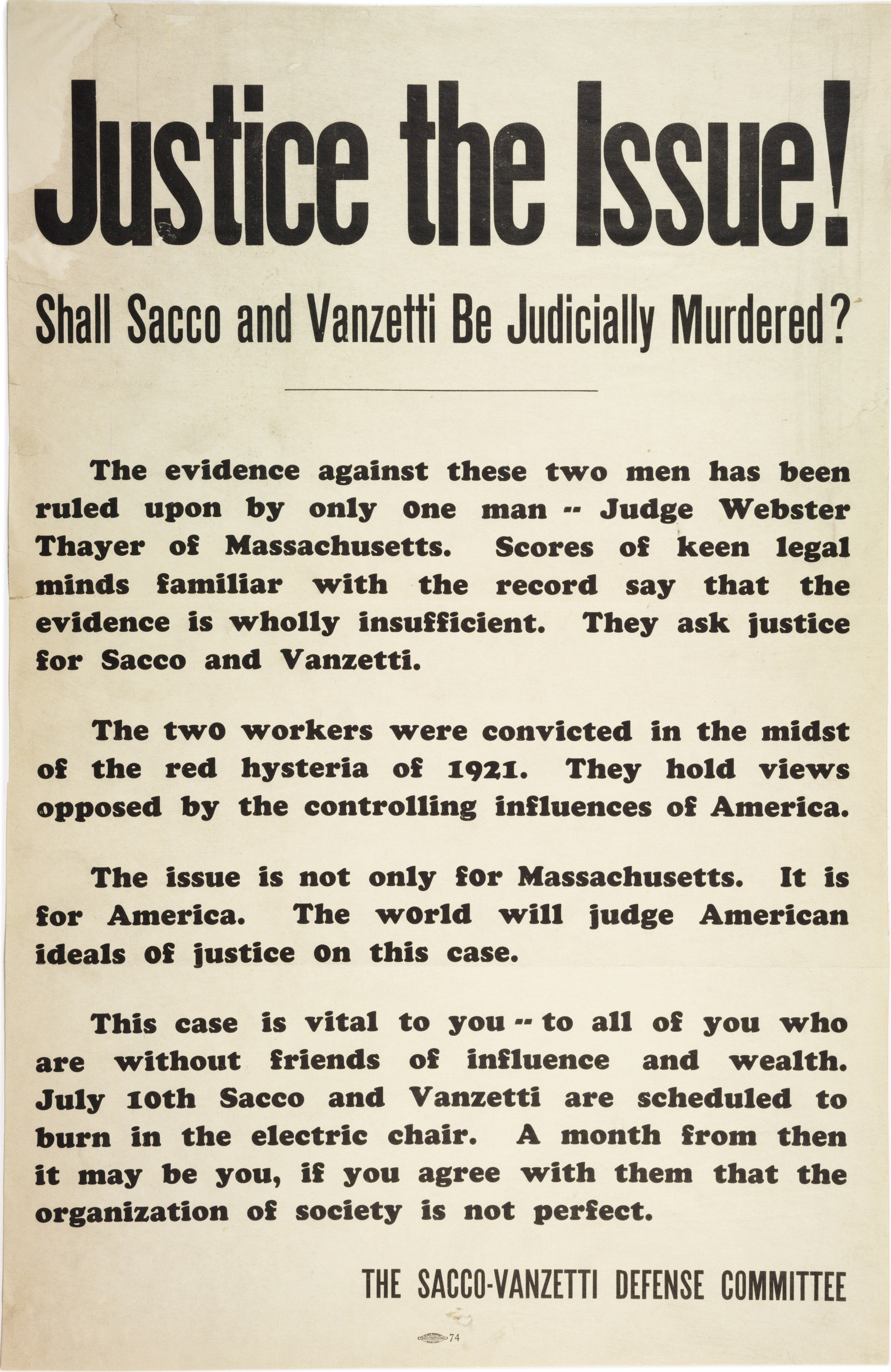 """Sacco-Vanzetti Defense Committee, """"Justice the Issue! Shall Sacco and Vanzetti"""