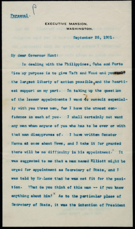 Theodore Roosevelt to William H. Hunt, September 26, 1901 (Gilder Lehrman Collec
