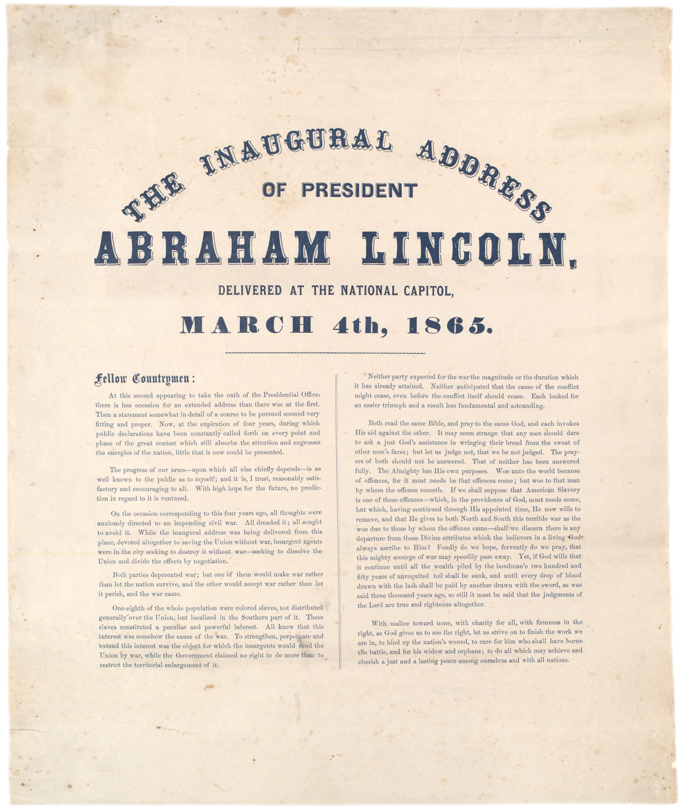 President Lincolns Second Inaugural Address   Gilder Lehrman  The Inaugural Address Of President Abraham Lincoln Delivered At The  National Capitol March
