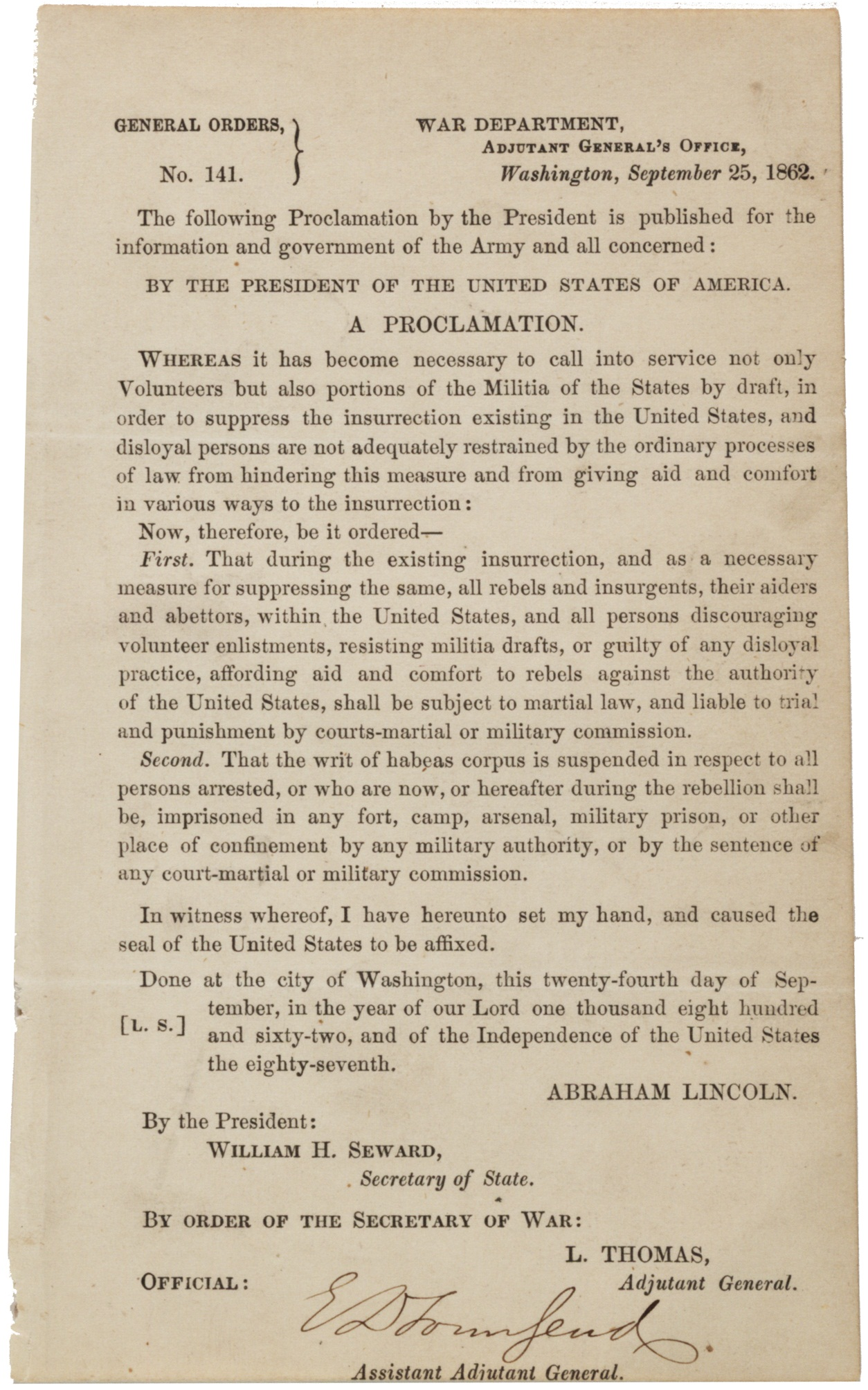 a proclamation on the suspension of habeas corpus 1862 the abraham lincoln general orders no 141 25 1862 gilder lehrman
