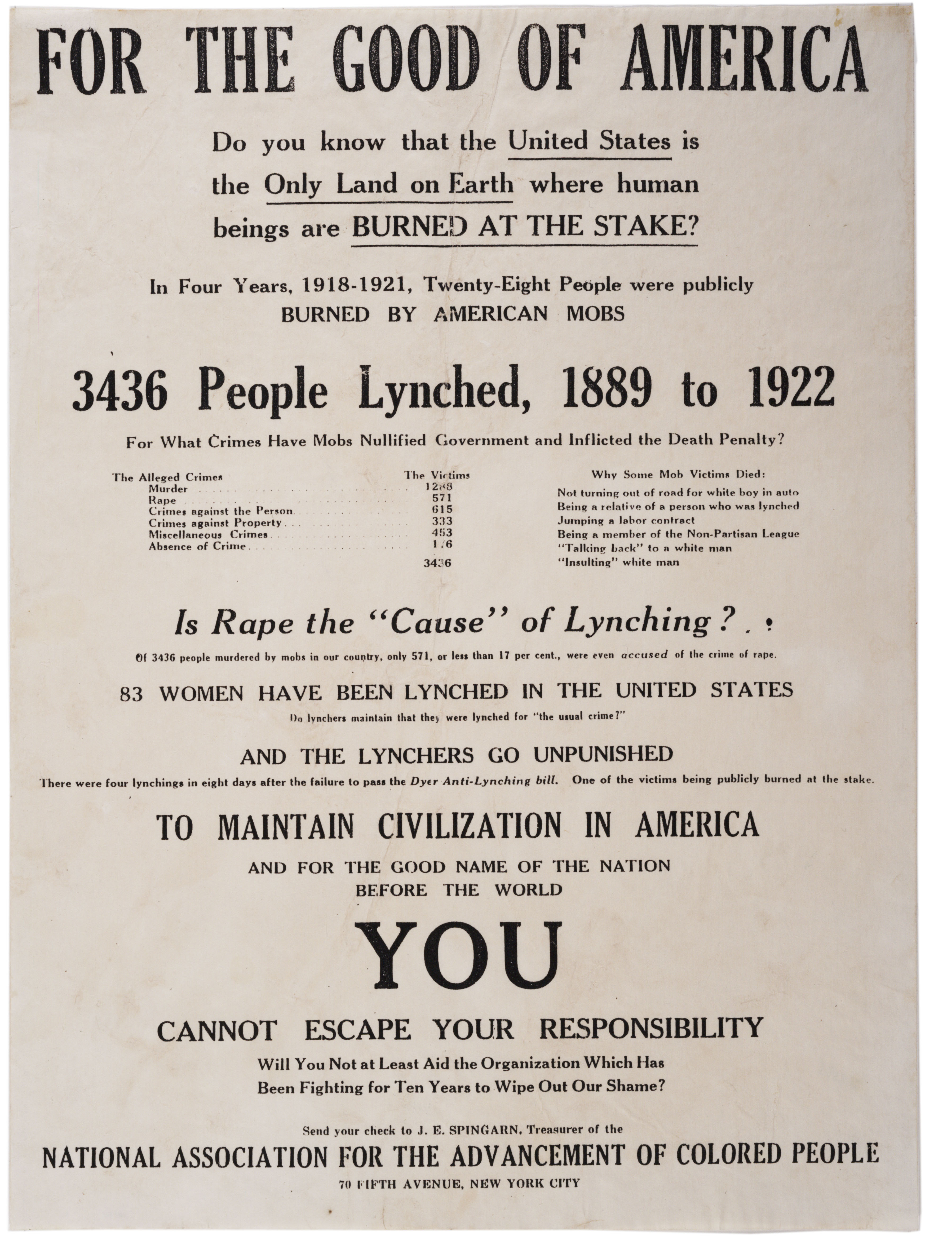 """NAACP, """"For the Good of America"""" broadside, ca. 1926. (Gilder Lehrman Collection"""