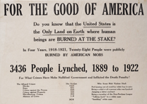 "NAACP, ""For the Good of America"" broadside, ca. 1926. (GLC06197)"