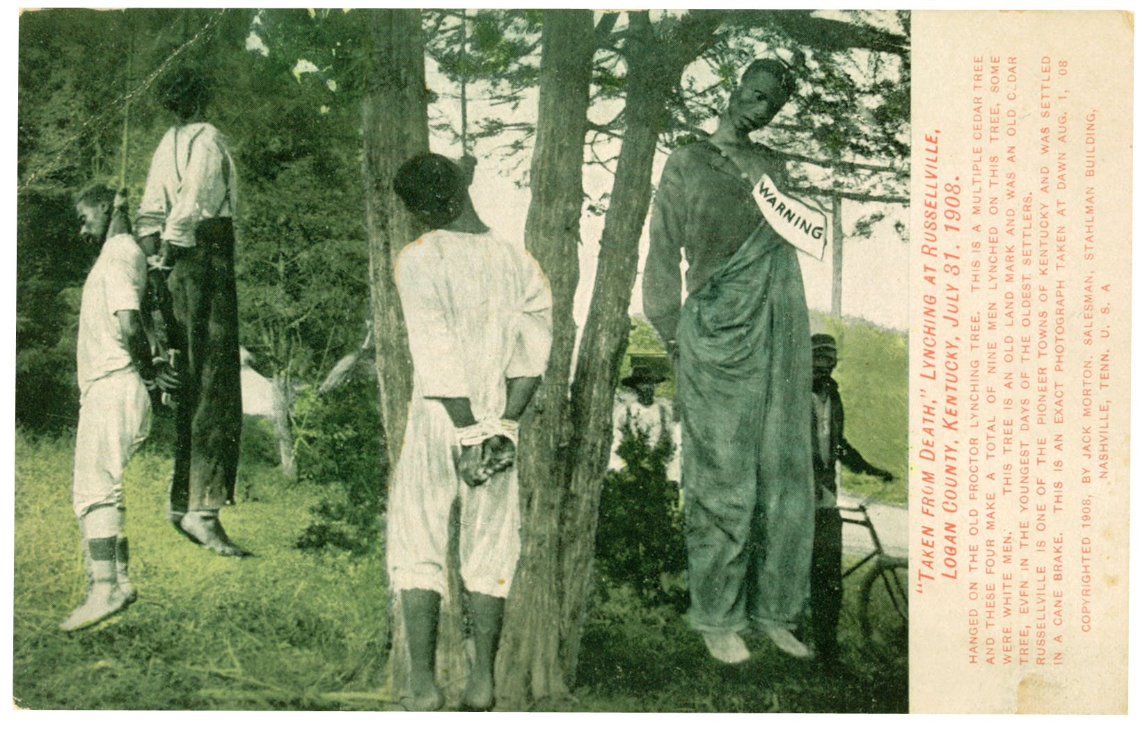 [Color reproduction of a photograph depicting the lynching of four African Ameri