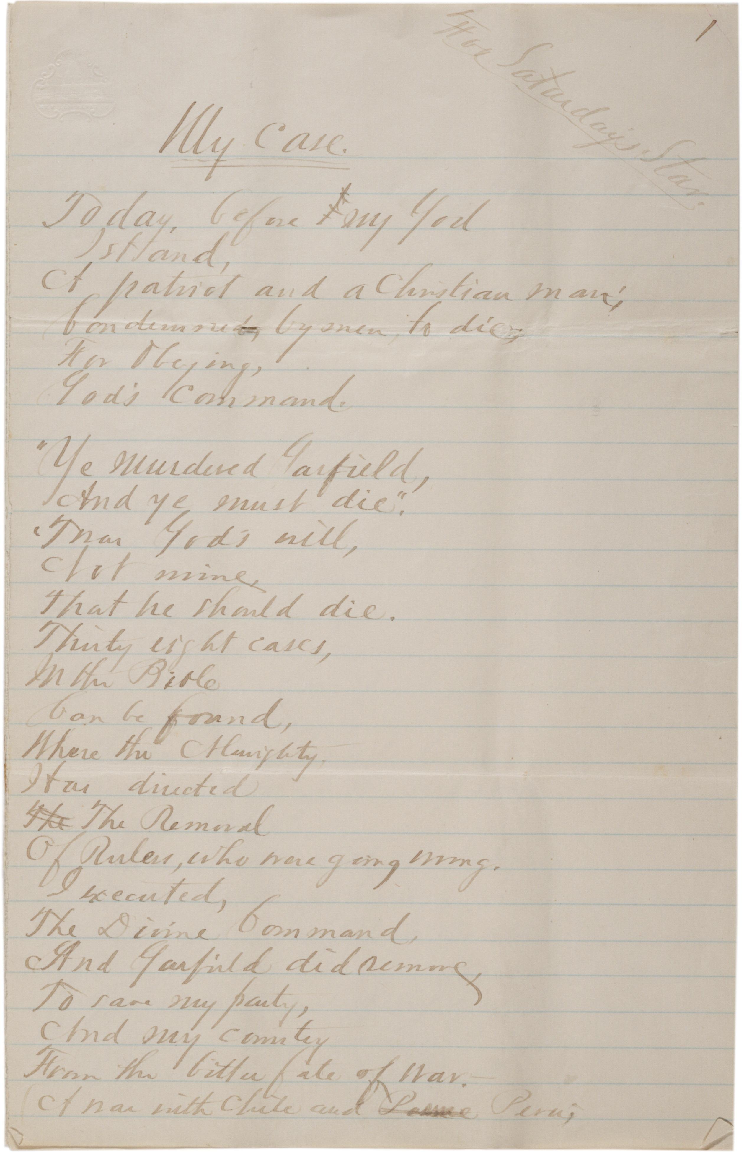 "Charles J. Guiteau, ""My Case"" [poem], June 1, 1882 (Gilder Lehrman Collectio"