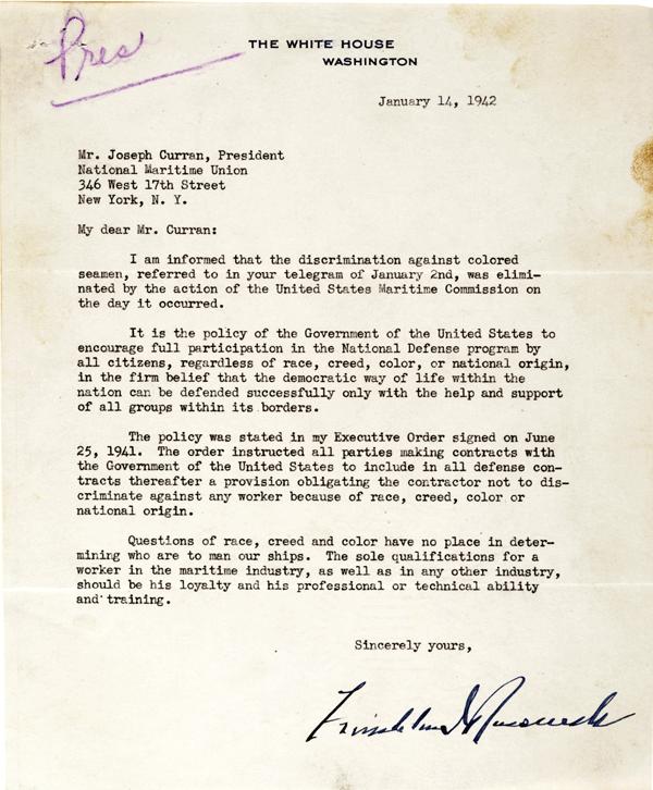 Franklin D. Roosevelt to Joseph Curran, January 14, 1942. (Gilder Lehrman Collec