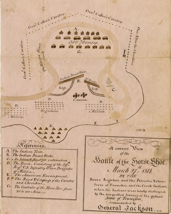 """A Correct View of the Battle of the Horse-Shoe, March 27th, 1814"" (GLC06772)"