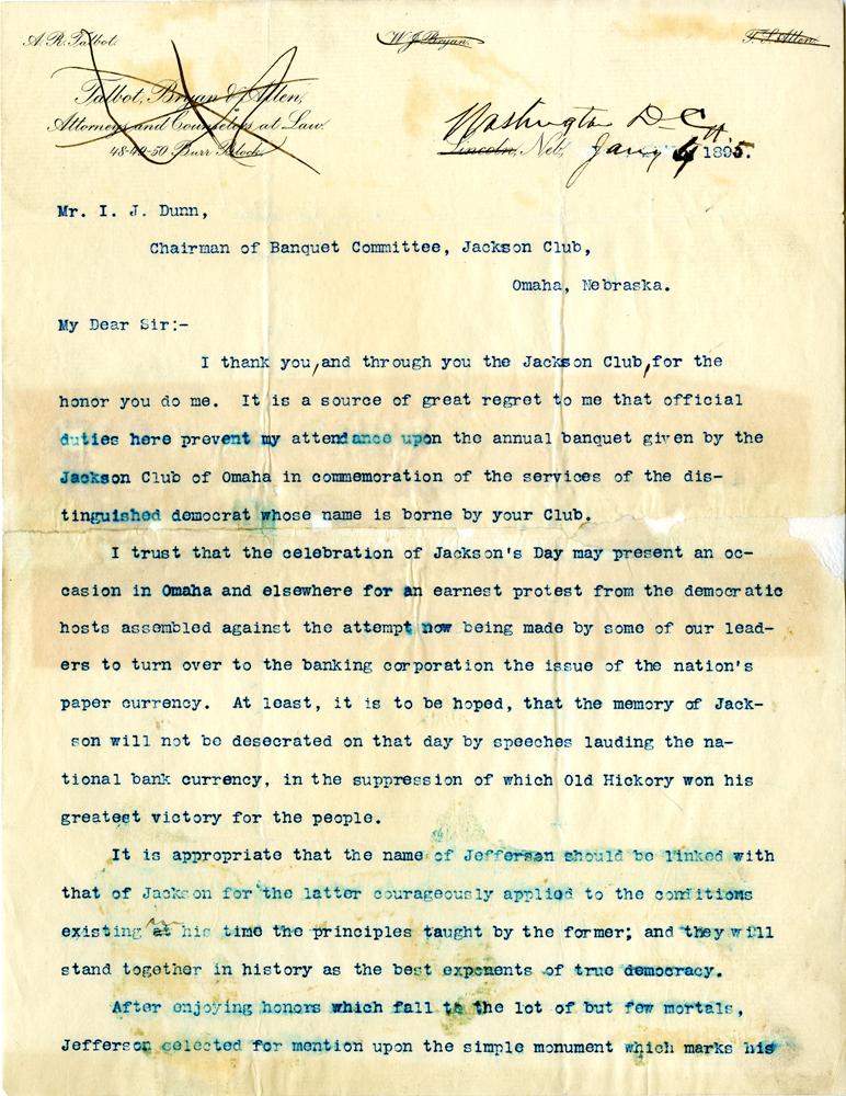William Jennings Bryan to I. J. Dunn, January 4, 1895 (GLC07189)