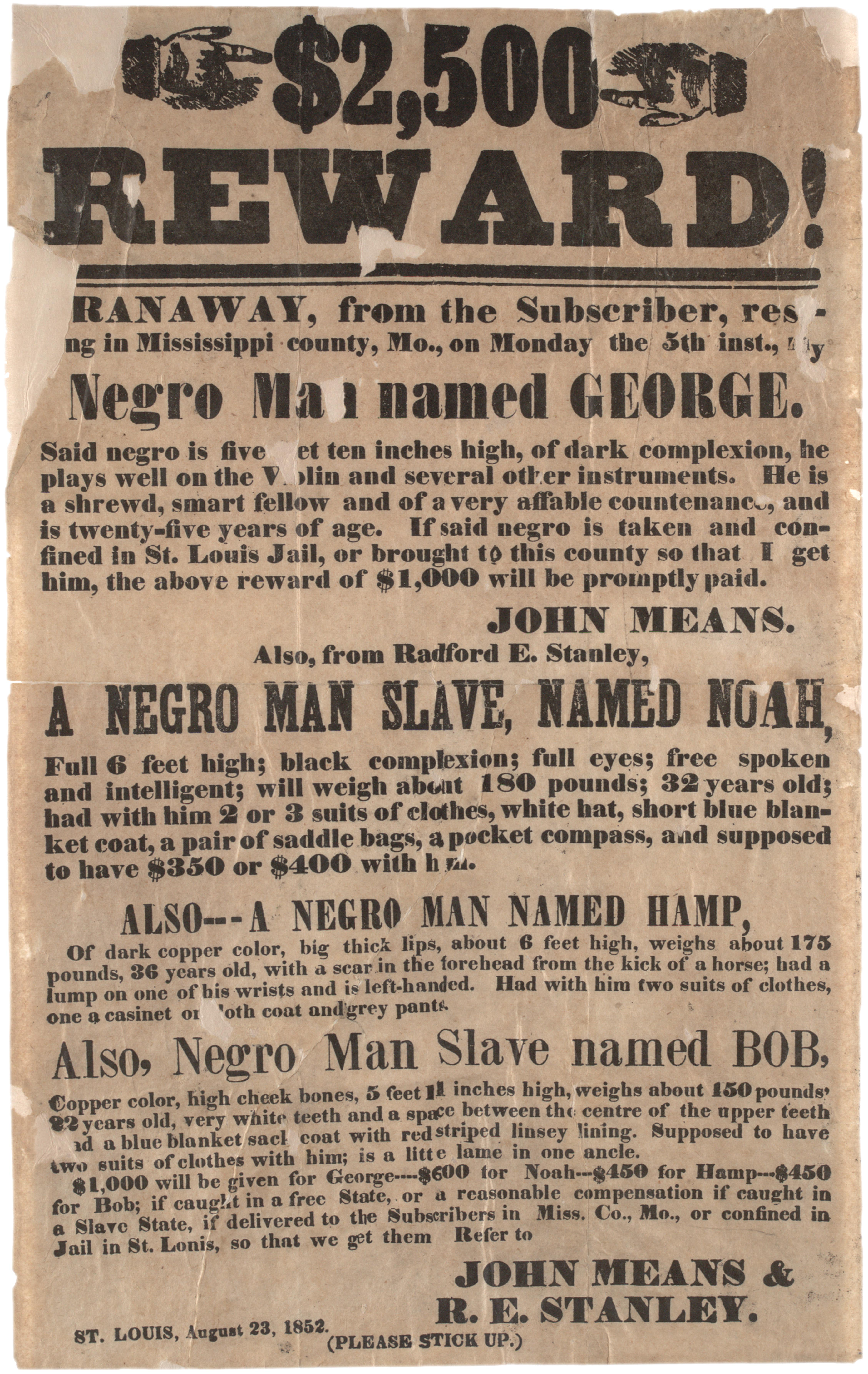 Runaway Slave Ad 1852 Gilder Lehrman Institute Of