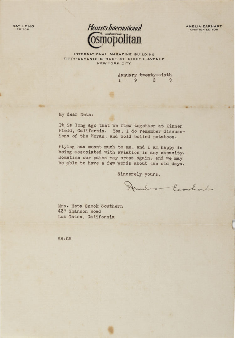 Amelia Earhart to Neta Snook Southern, January 6, 1929. (GLC07243.01)