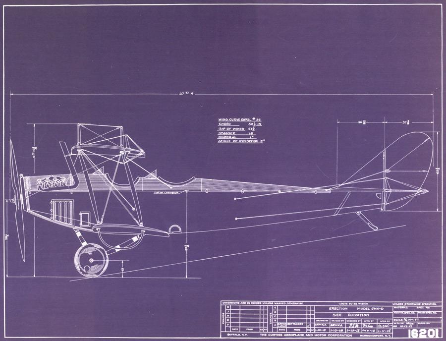 Blueprint of the Curtiss Jenny airplane (GLC07243.007)
