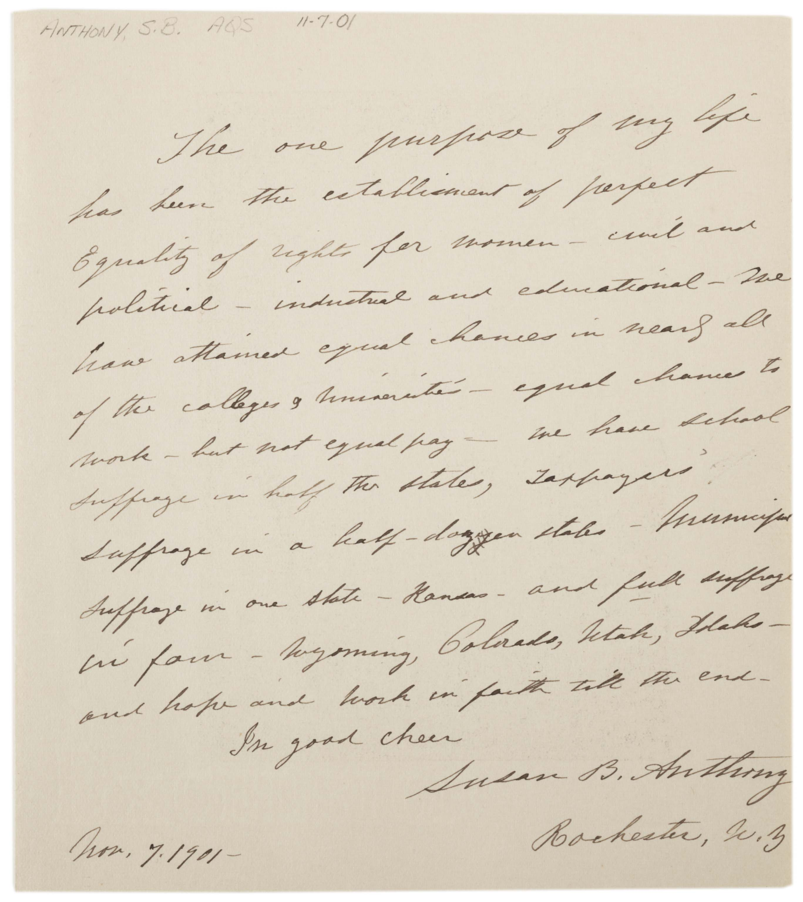 Susan B. Anthony, Statement of the current state of her work for equal rights fo