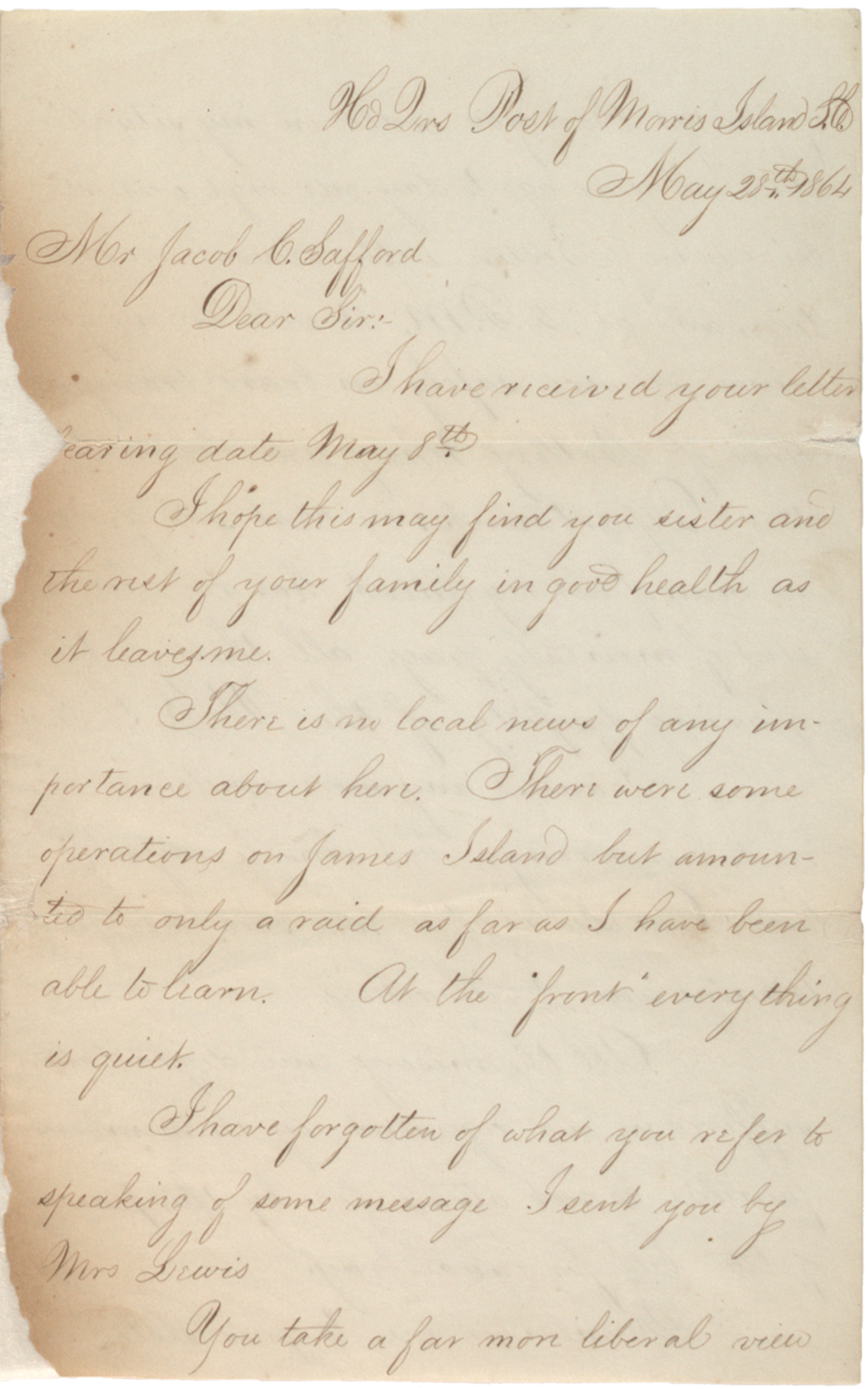 Francis H. Fletcher to Jacob C. Safford, May 28, 1864. (GLC07345)