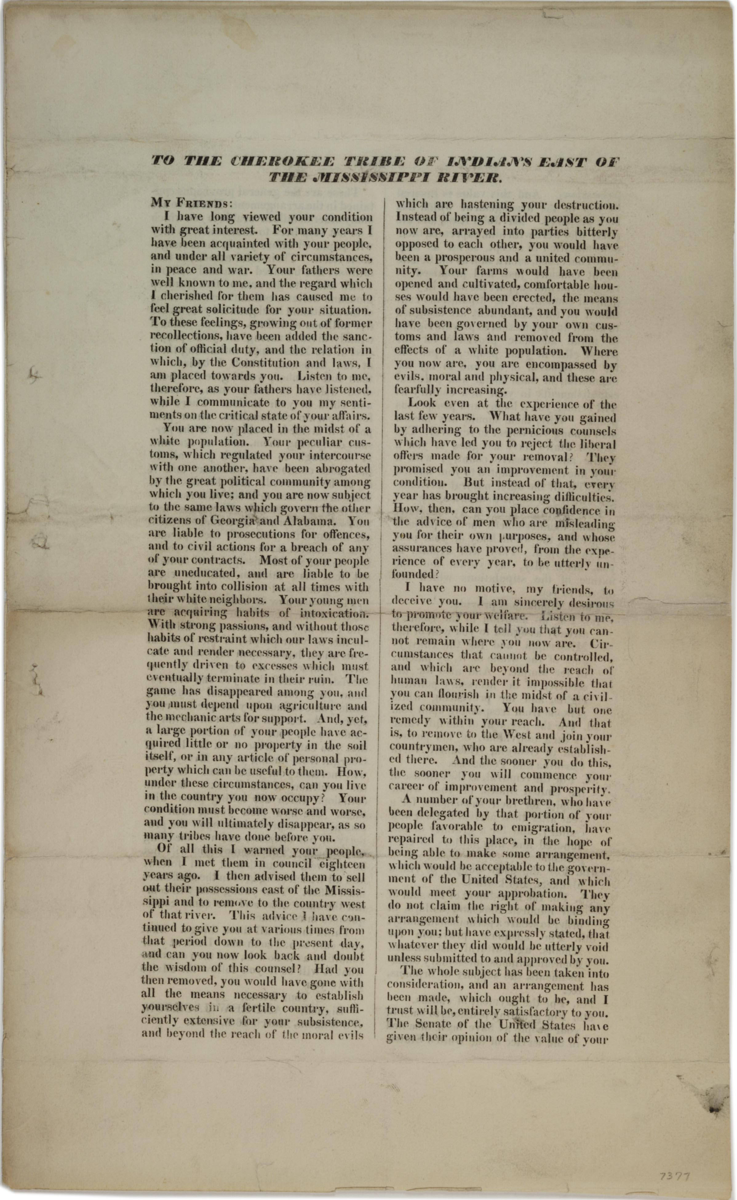 """Andrew Jackson, """"To the Cherokee Tribe of Indians East of the Mississippi [circu"""