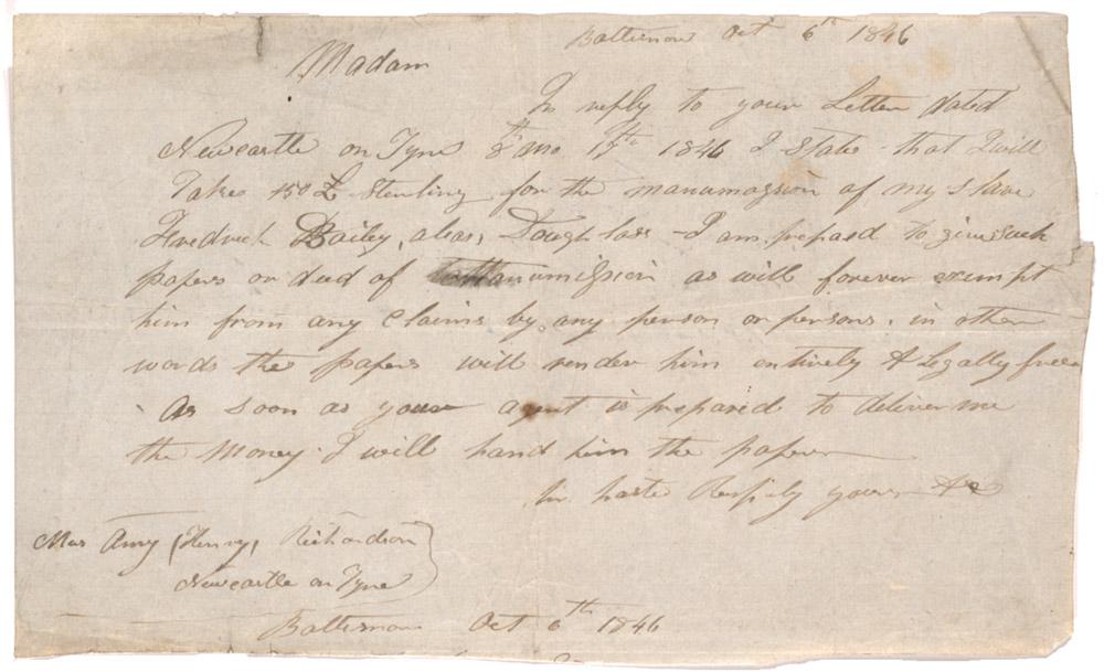 Hugh Auld to Anna Richardson, October 6, 1846 (GLC07484.04)