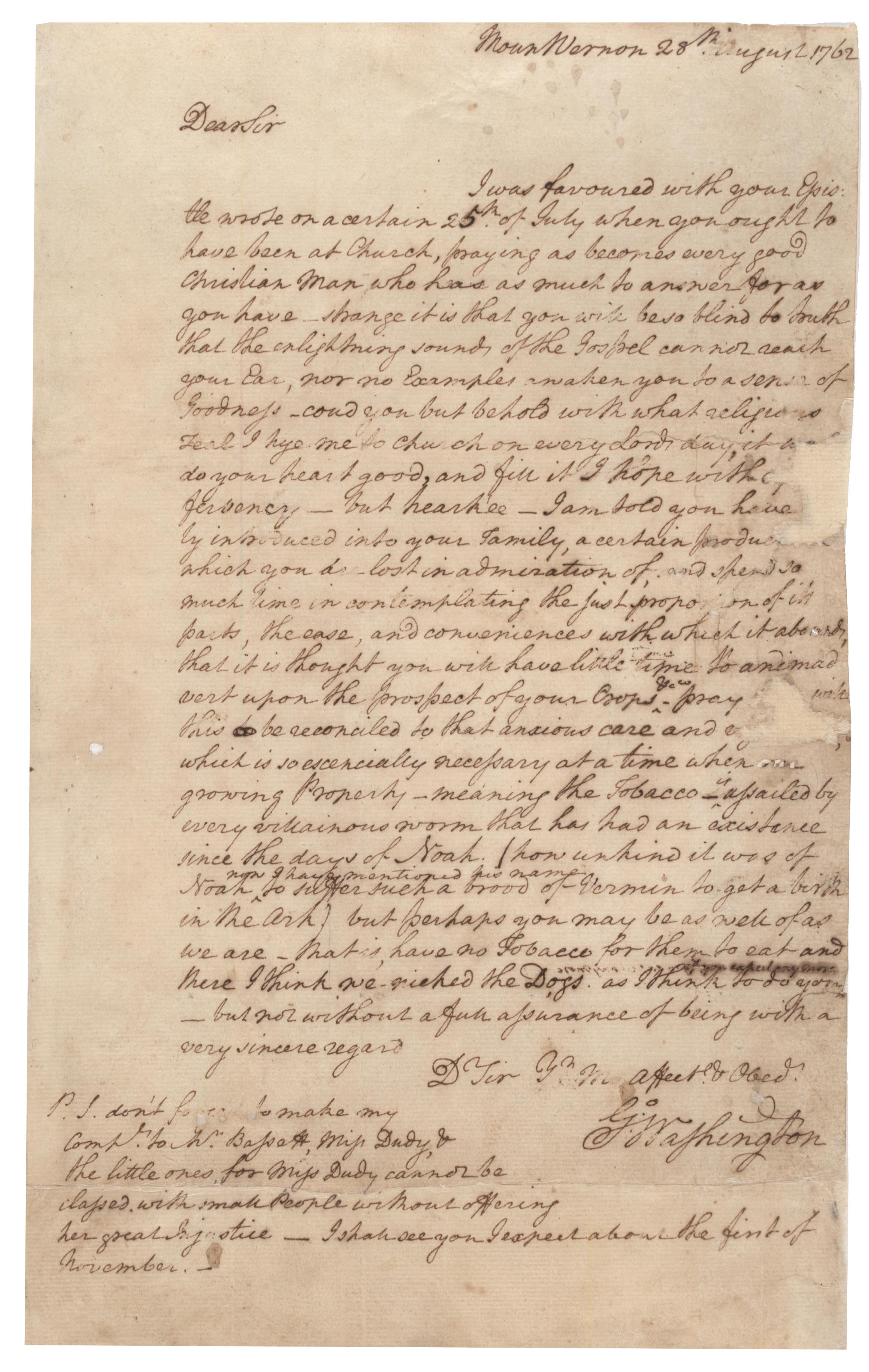 George Washington to Burwell Bassett, August 28, 1762. (GLC07545)